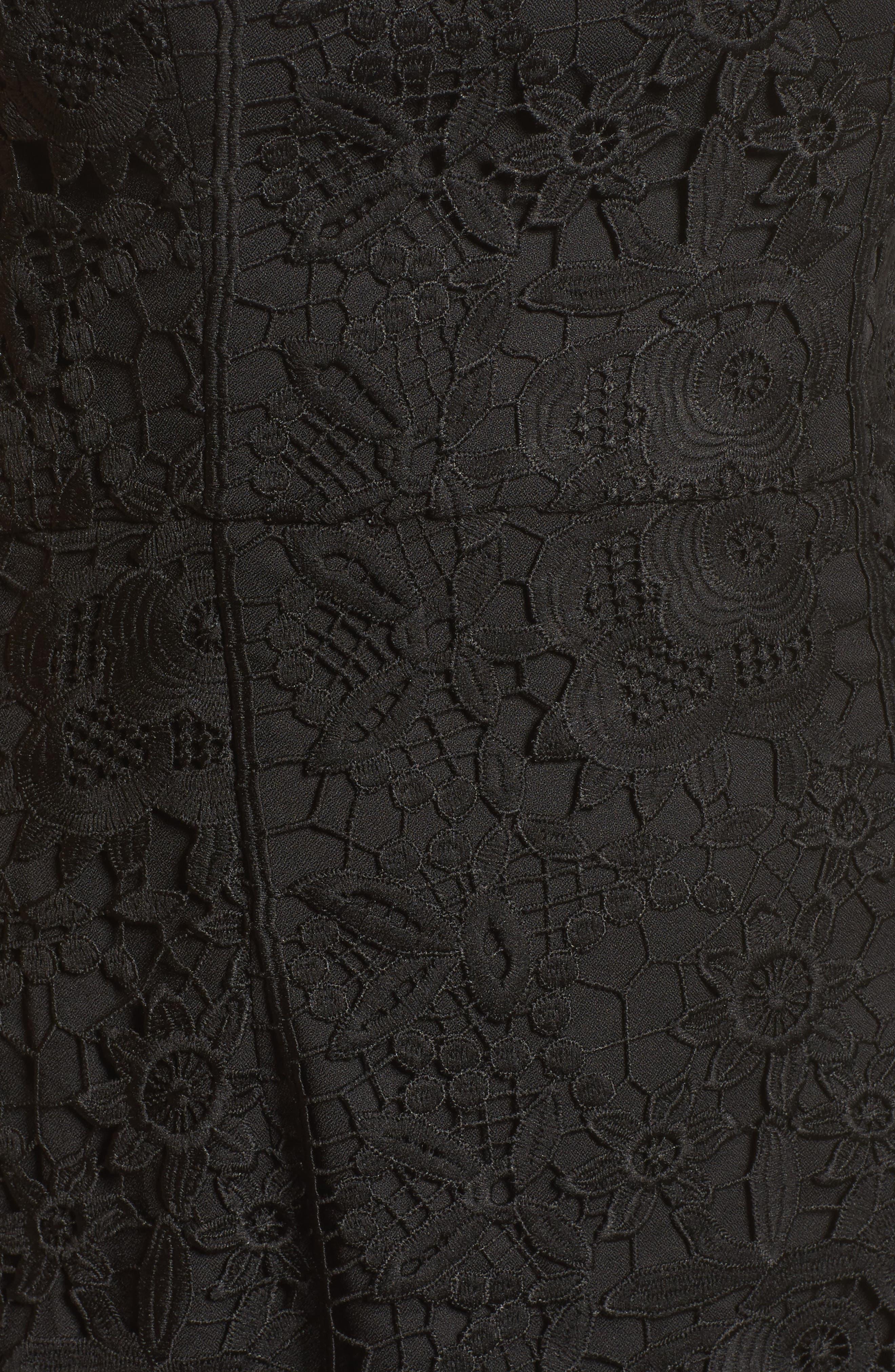 Talia Lace Off the Shoulder Midi Dress,                             Alternate thumbnail 5, color,                             001