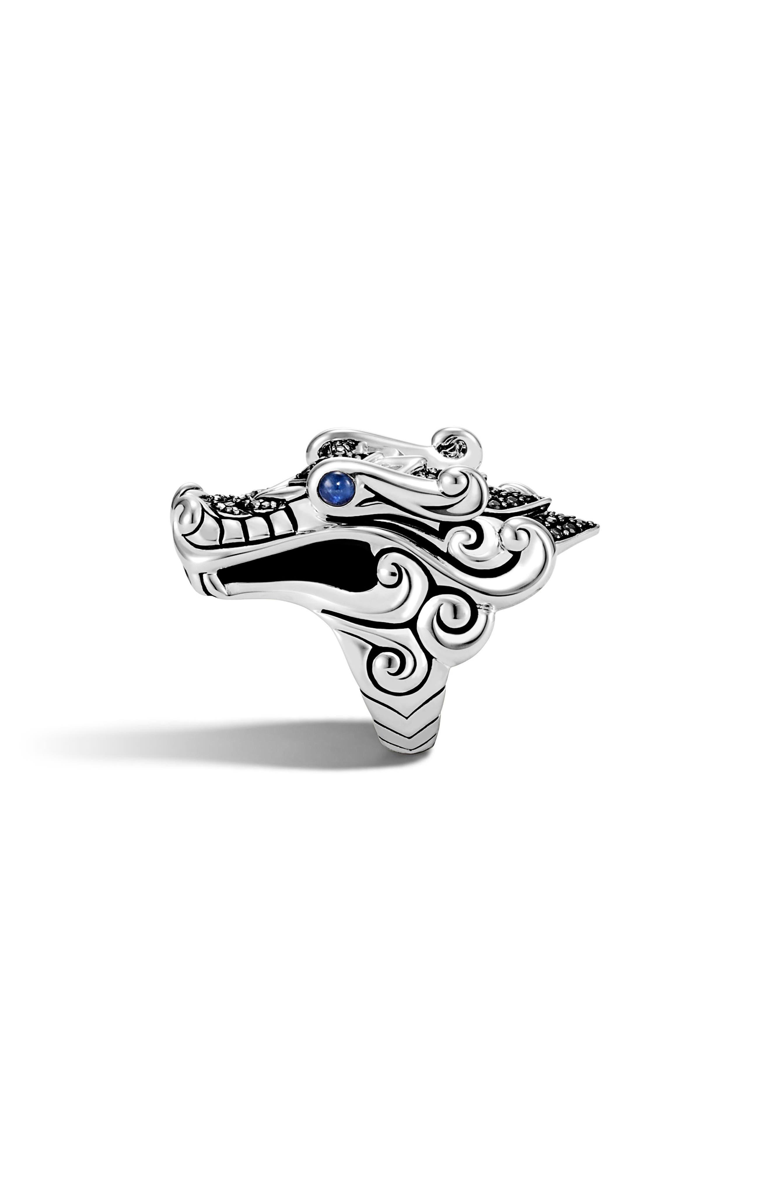 Legends Naga Ring,                             Alternate thumbnail 2, color,                             SILVER/ BLACK/ BLUE SAPPHIRE