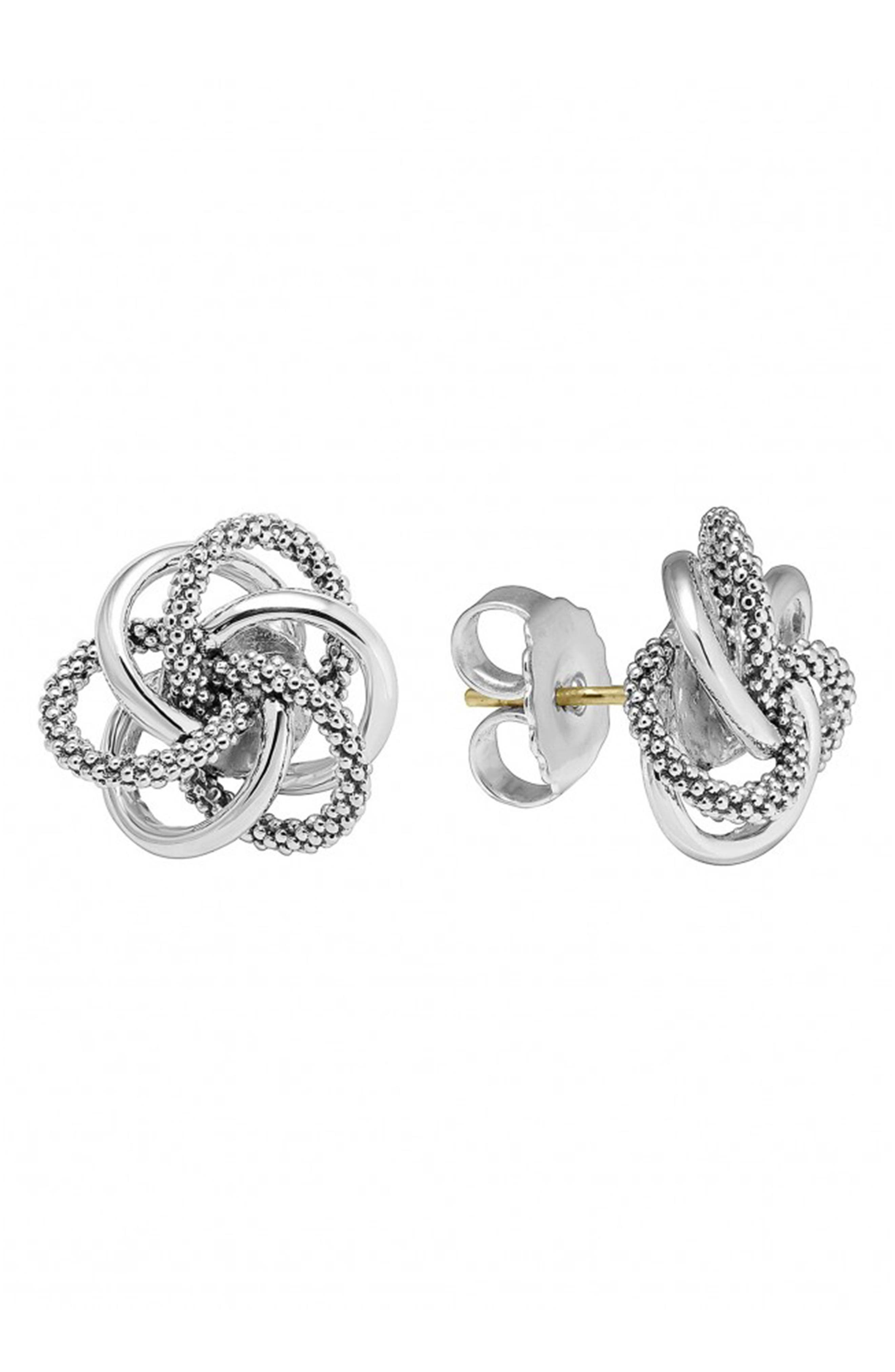Caviar<sup>™</sup> Stud Earrings,                             Alternate thumbnail 3, color,                             STERLING SILVER