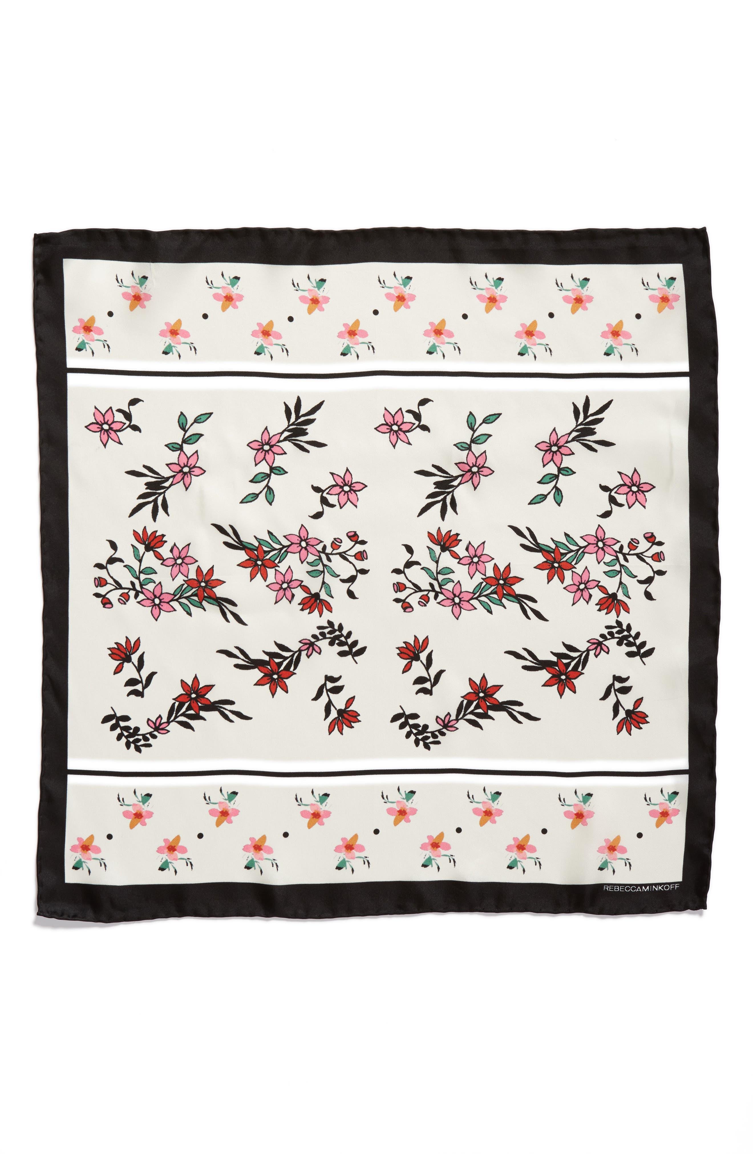 Twilight Floral Silk Bandana,                             Alternate thumbnail 3, color,                             100