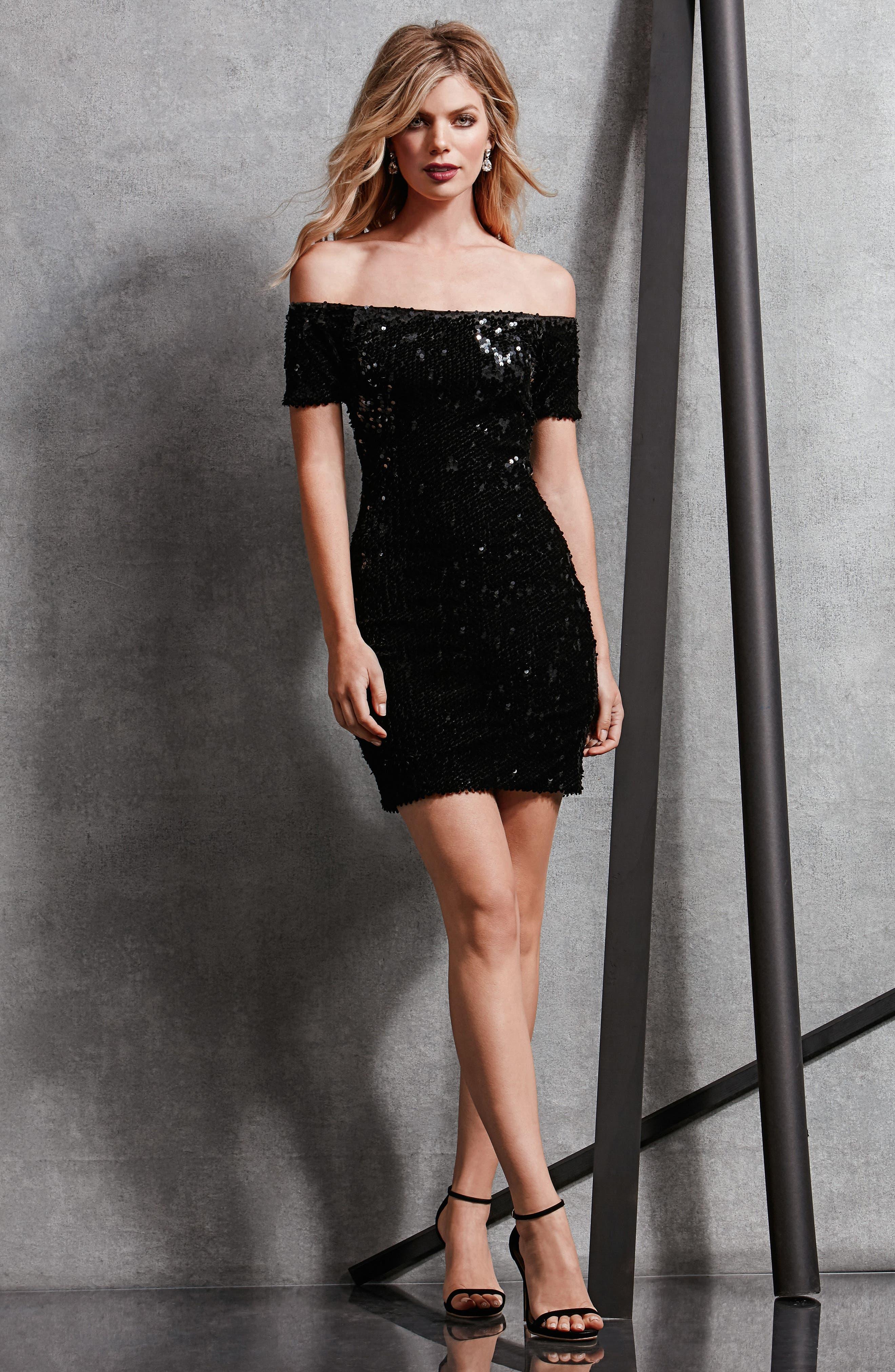 Larissa Sequin Off the Shoulder Body-Con Dress,                             Alternate thumbnail 5, color,                             001