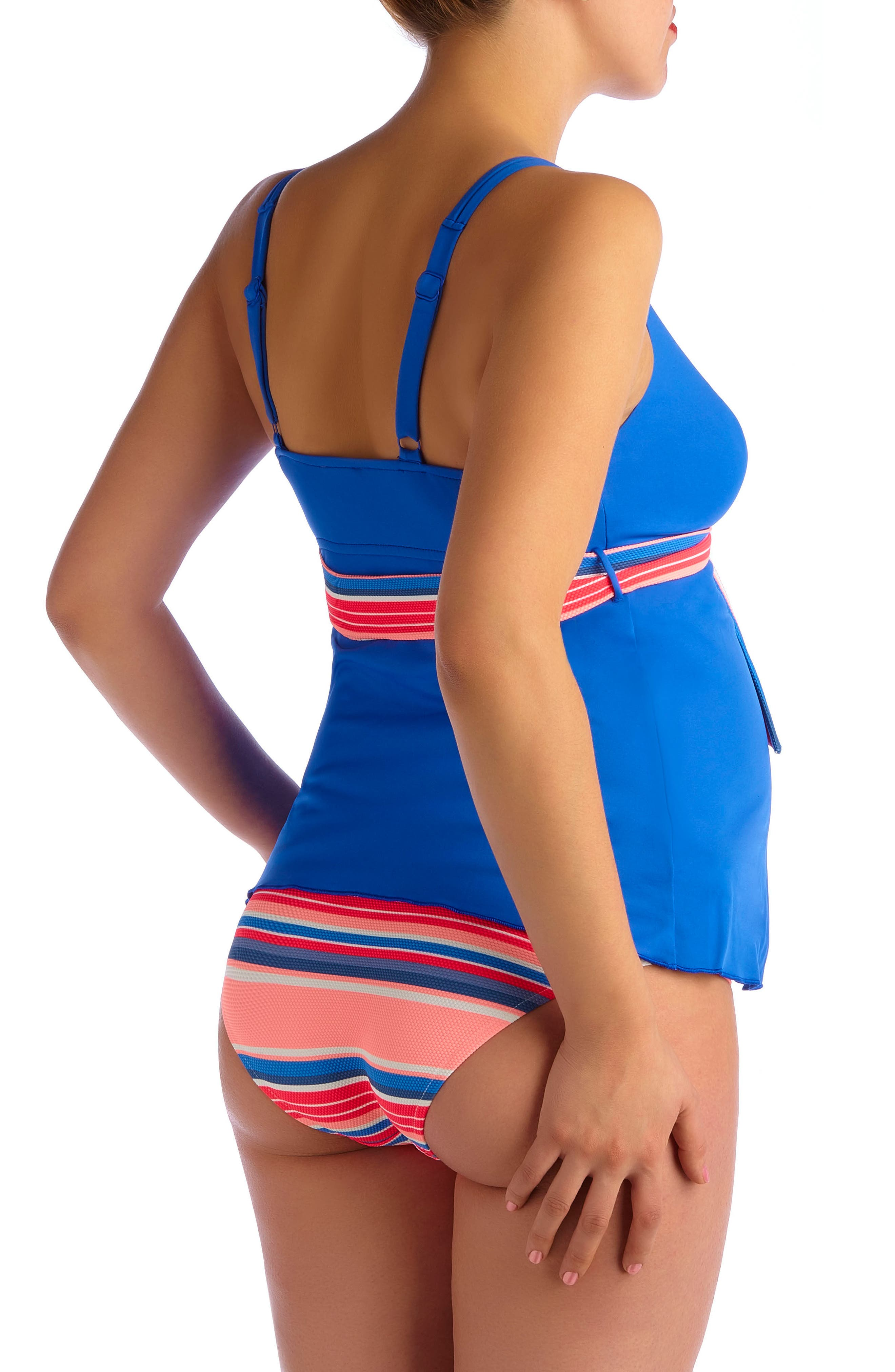 Devon Striped Two-Piece Maternity Swimsuit,                             Alternate thumbnail 2, color,                             BLUE ROYAL
