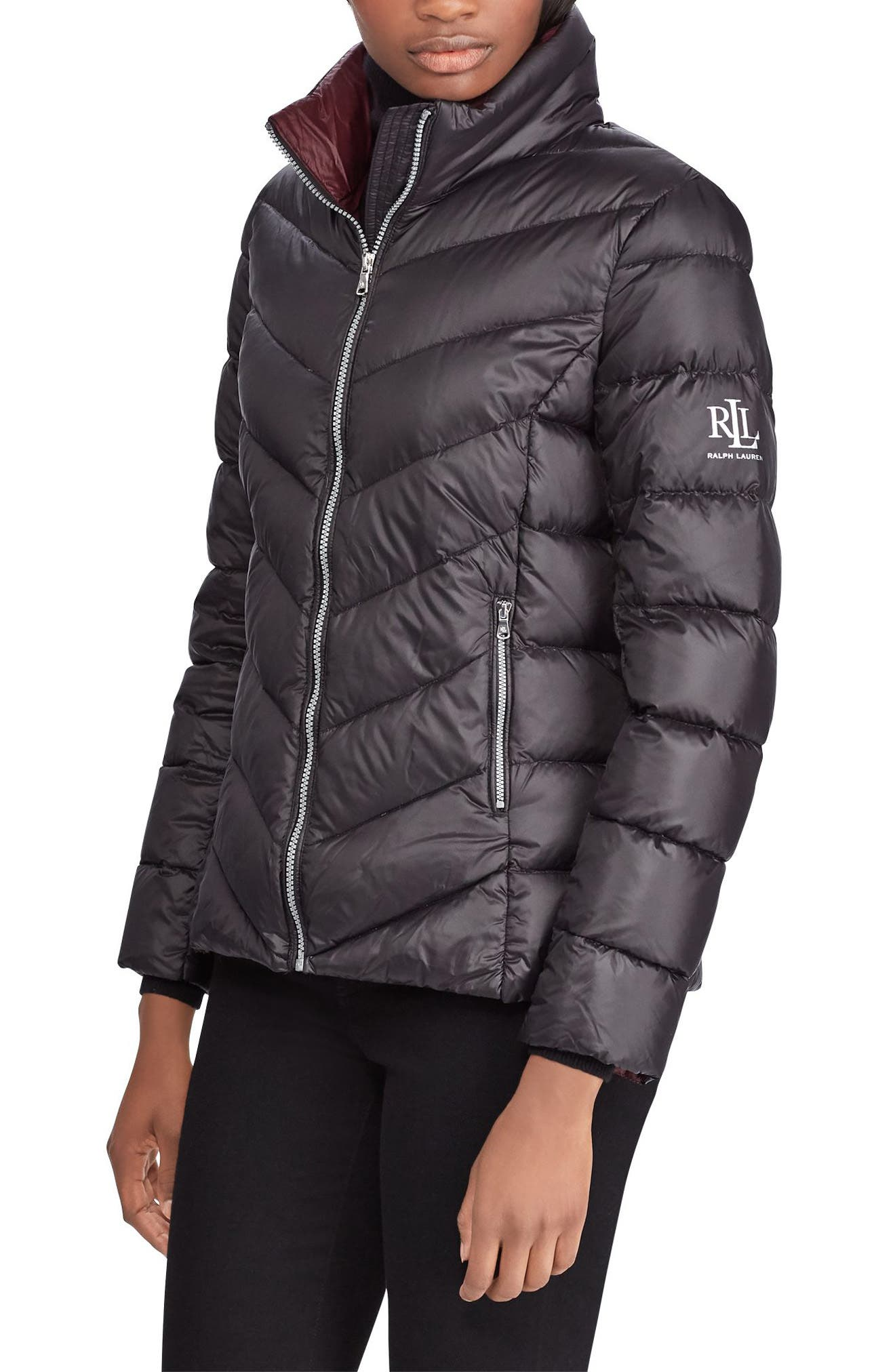 Lauren Ralph Lauren Chevron Quilted Packable Down Jacket, Black