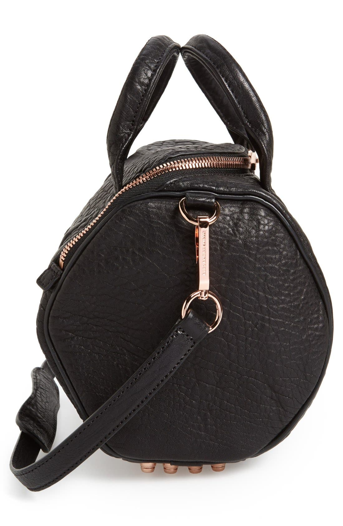 'Rockie - Rose Gold' Leather Crossbody Satchel,                             Alternate thumbnail 5, color,                             001