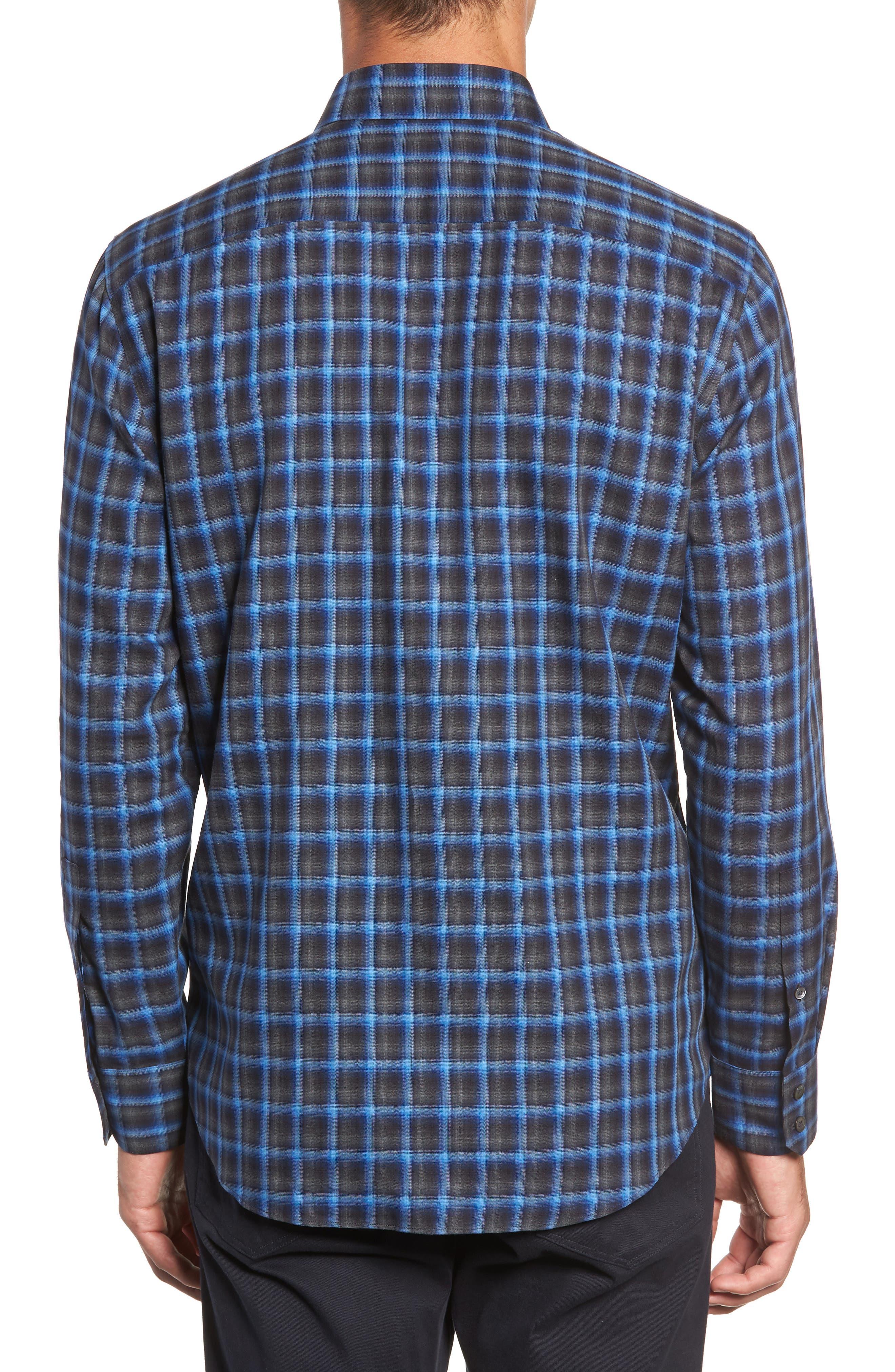 Danise Regular Fit Check Sport Shirt,                             Alternate thumbnail 3, color,                             ROYAL BLUE