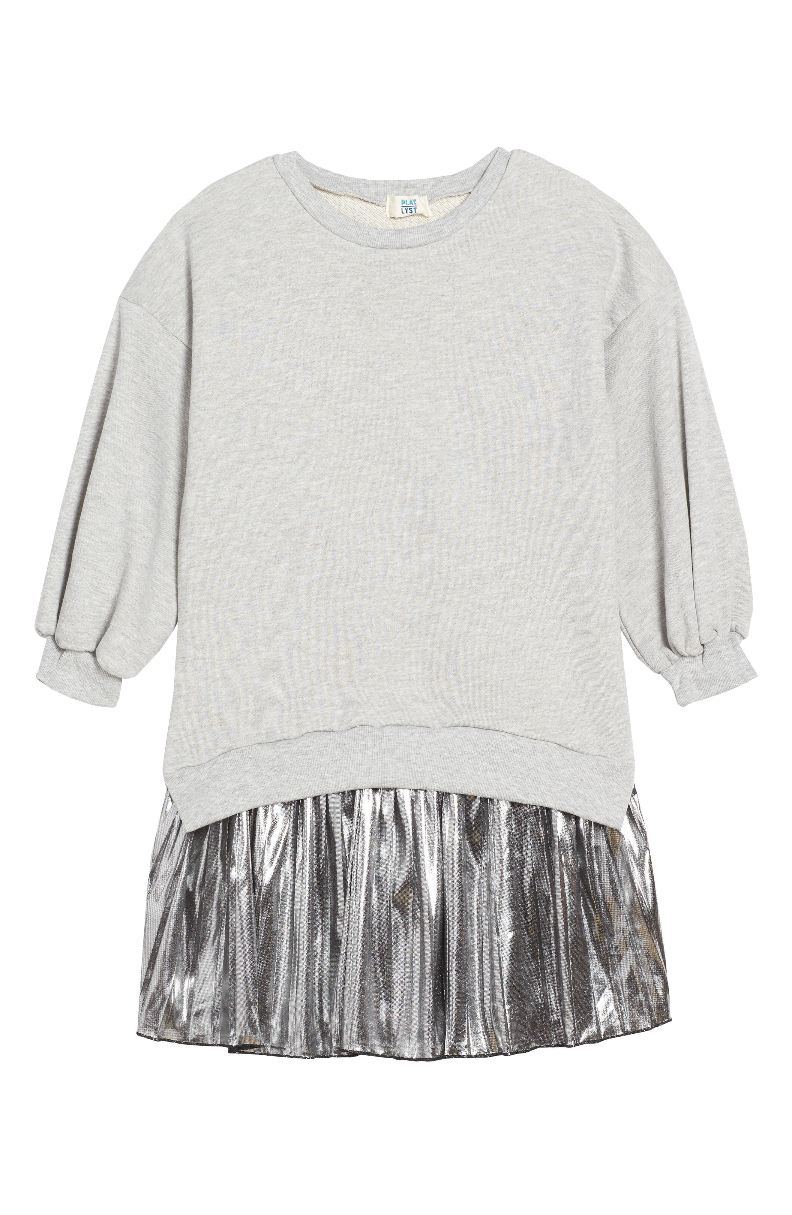 Metallic Sweatshirt Dress,                         Main,                         color, 020