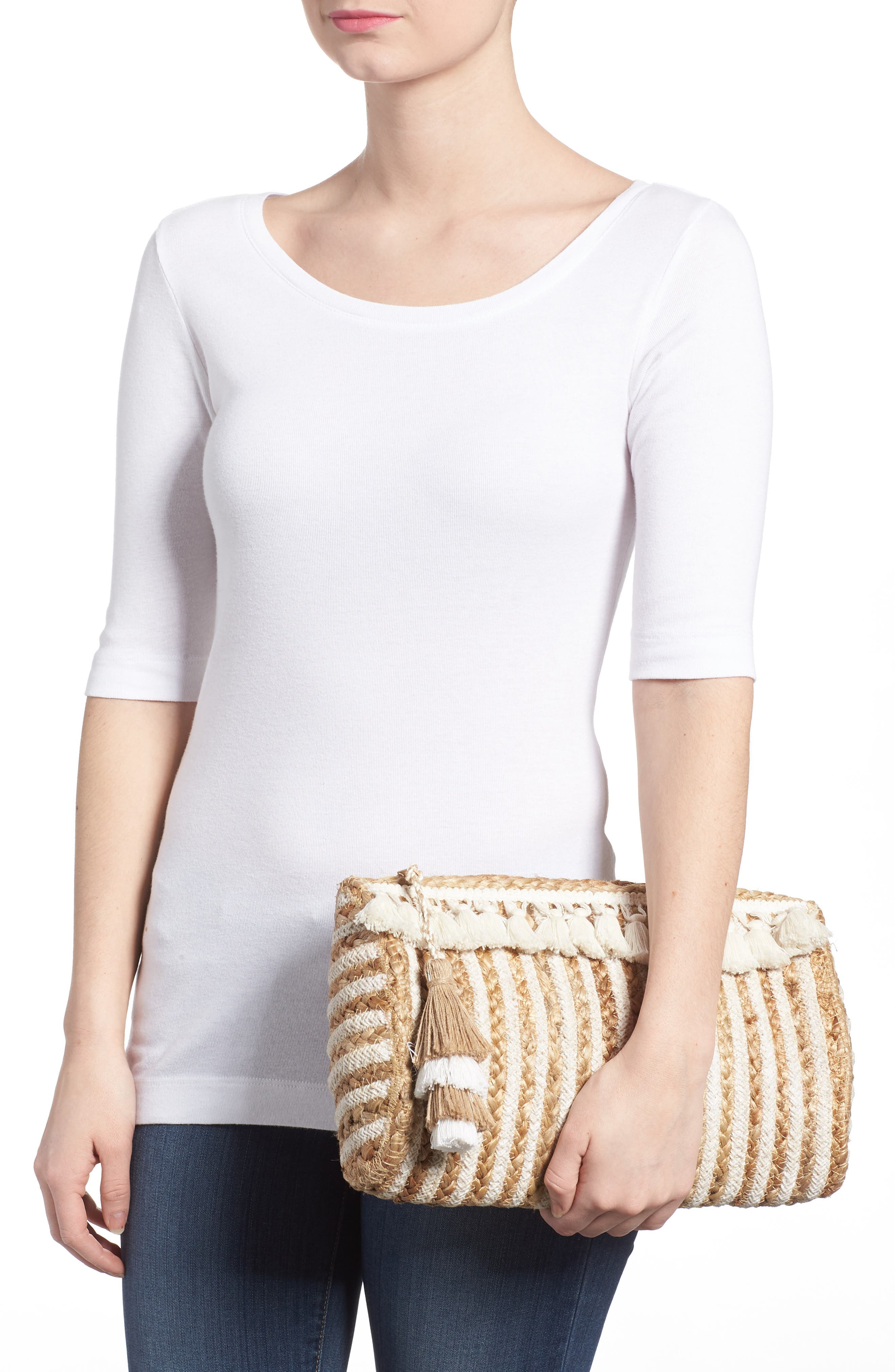 Mare Straw Clutch,                             Alternate thumbnail 2, color,