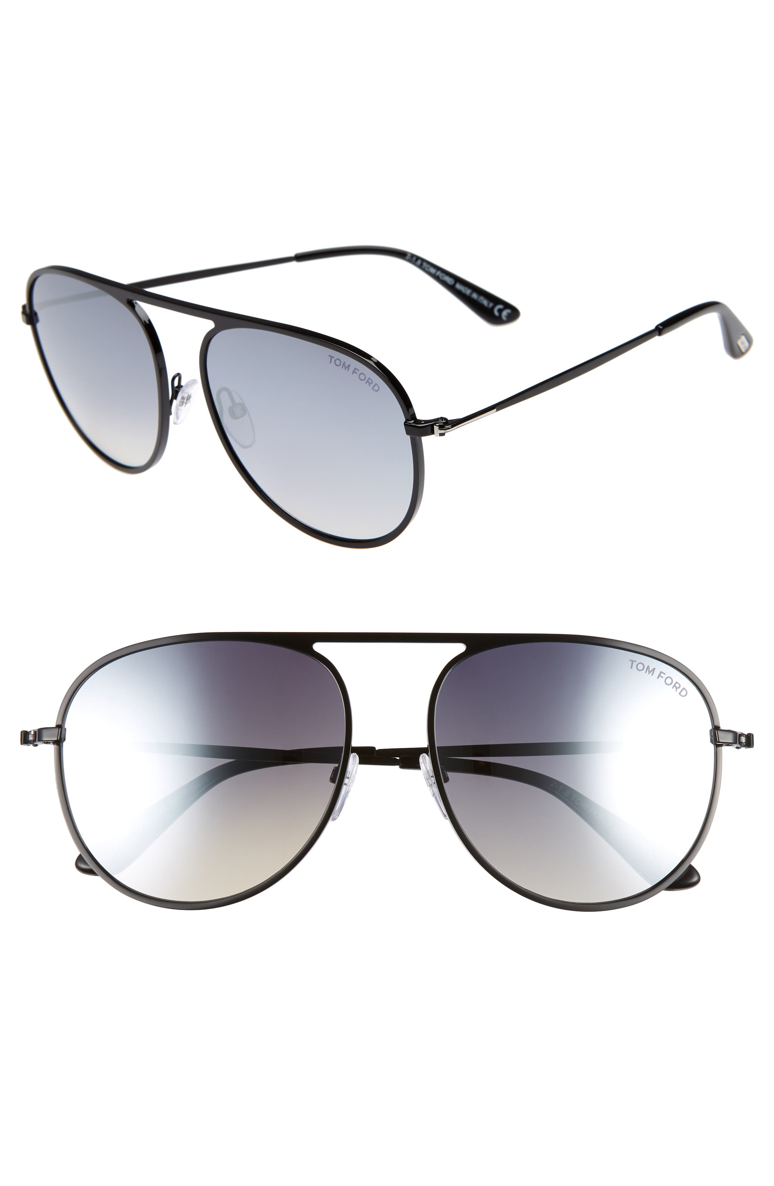 59mm Aviator Sunglasses,                         Main,                         color, SHINY BLACK/ SMOKE MIRROR