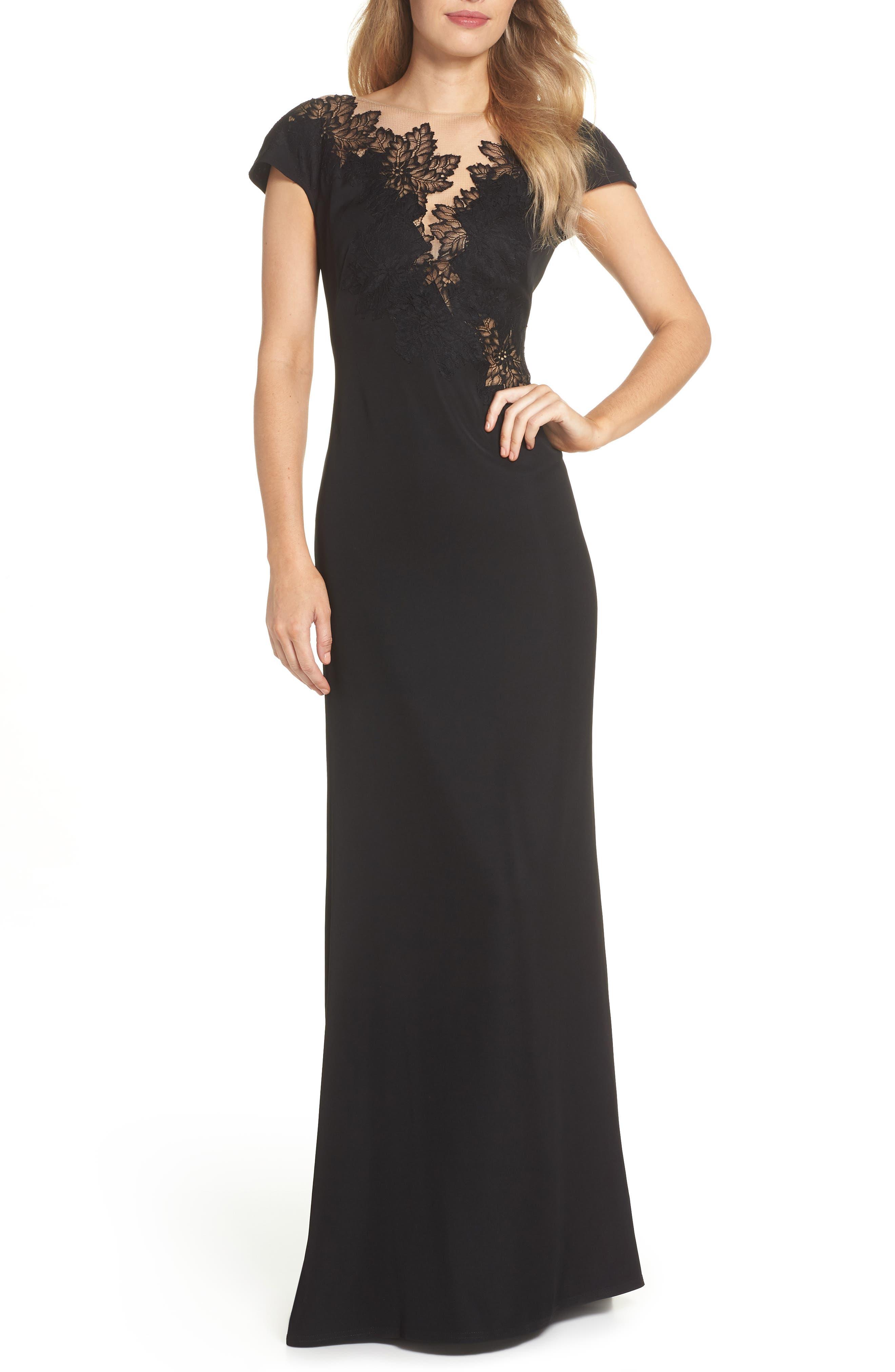Lace & Crepe Gown,                             Main thumbnail 1, color,                             001