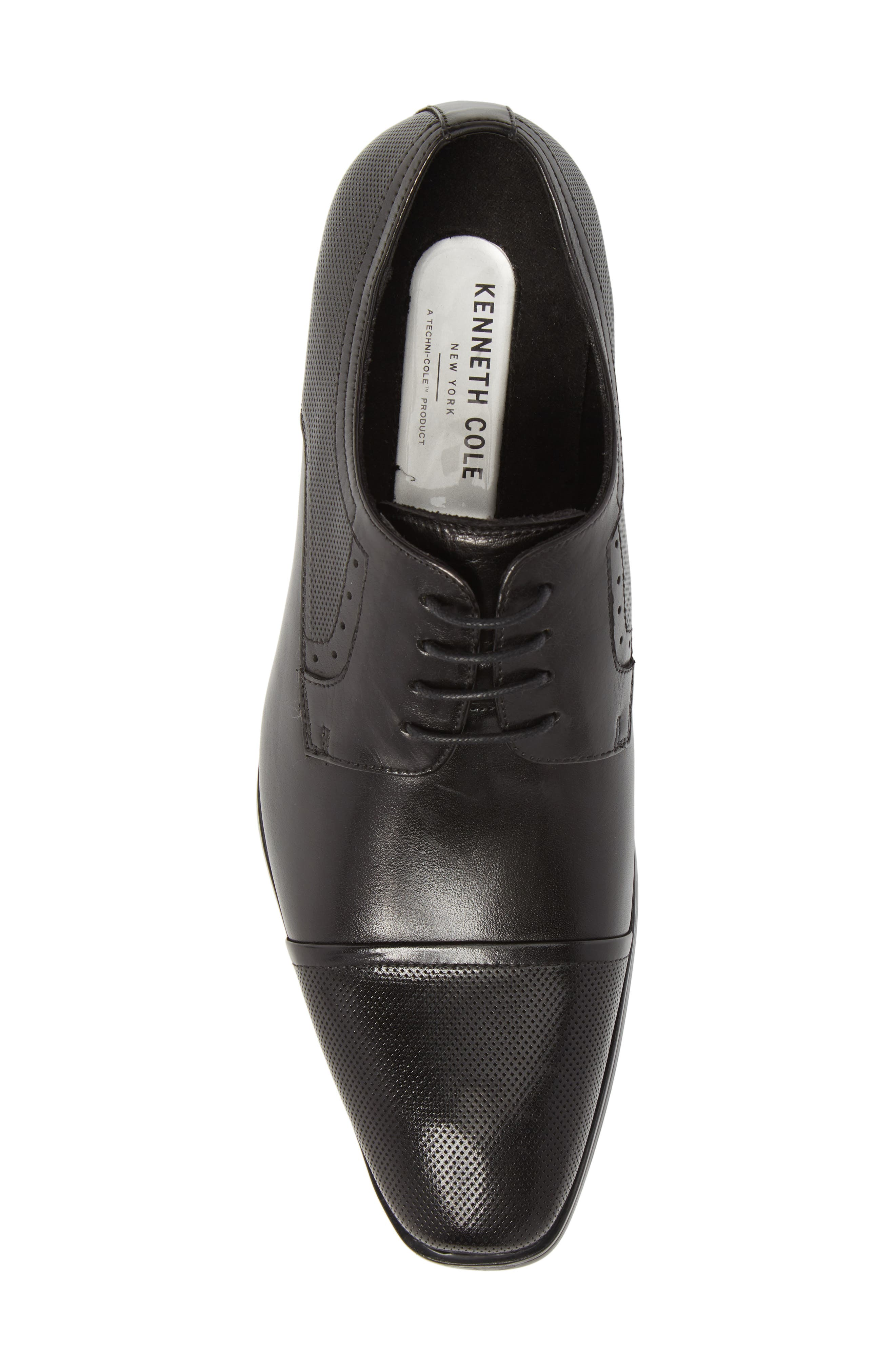 Embossed Cap Toe Derby,                             Alternate thumbnail 5, color,                             BLACK LEATHER