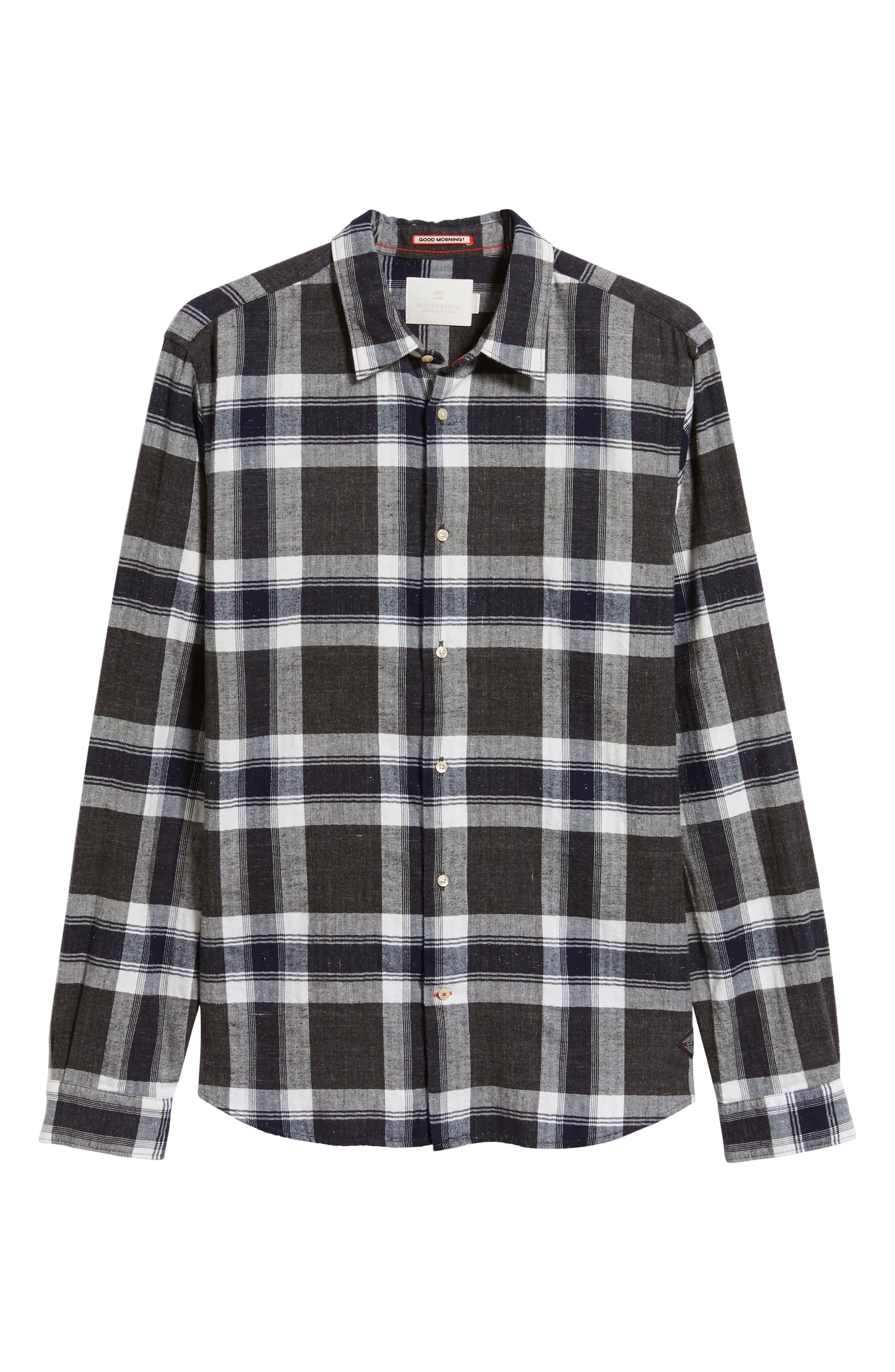Herringbone Plaid Shirt,                             Alternate thumbnail 5, color,                             COMBO F
