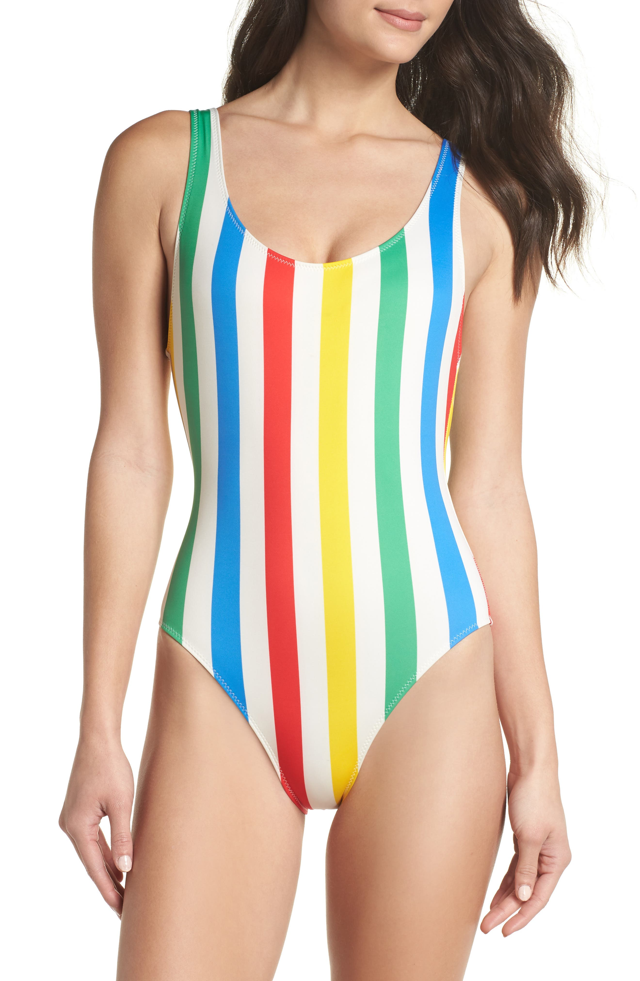 Anne Marie Open Back One-Piece Swimsuit,                         Main,                         color, PRIMARY STRIPE