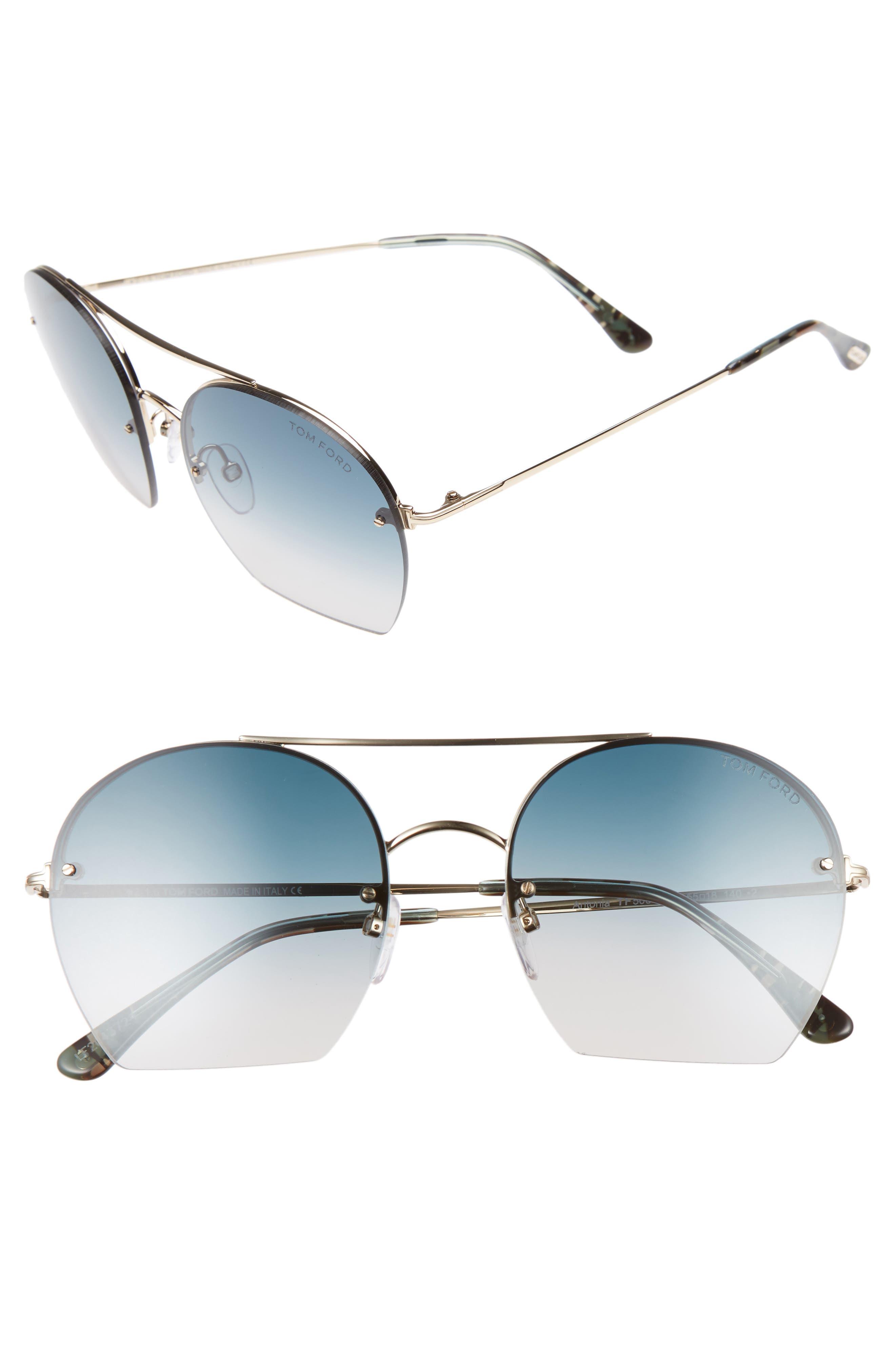 Antonia 55mm Gradient Lens Aviator Sunglasses,                             Main thumbnail 1, color,