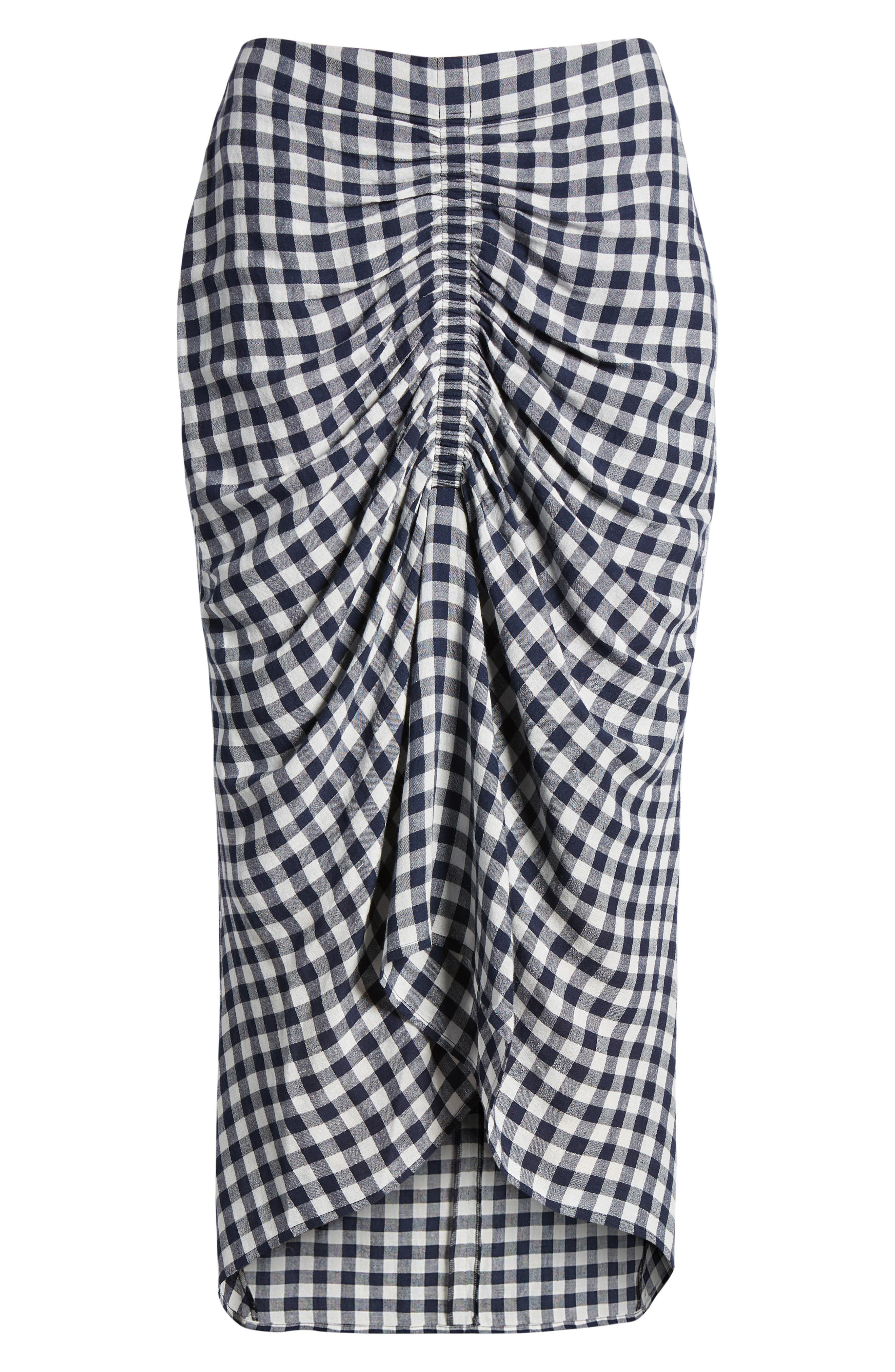 Ruched Front Gingham Skirt,                             Alternate thumbnail 6, color,                             NAVY NIGHT- WHITE CHECK