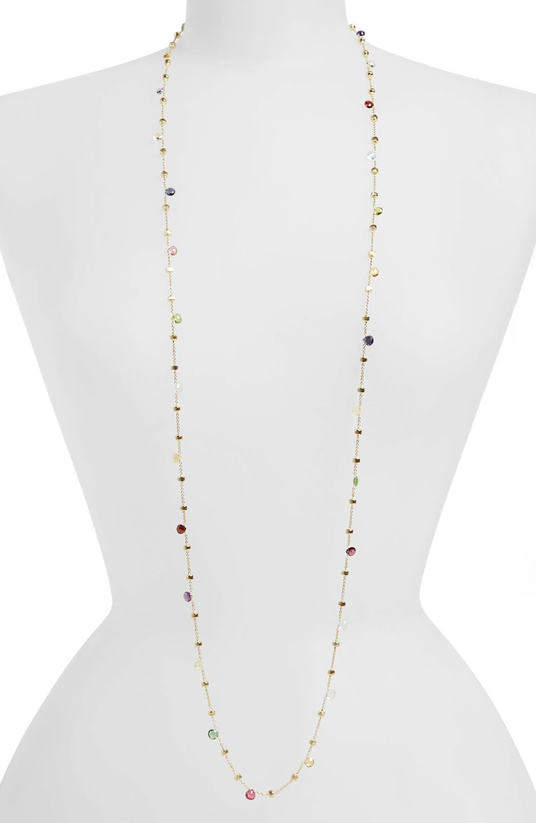 'Paradise' Semiprecious Stone Long Necklace,                             Main thumbnail 1, color,                             YELLOW GOLD/ MULTI