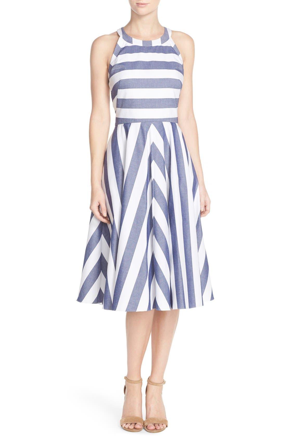 Cotton Fit & Flare Dress,                             Main thumbnail 1, color,                             BLUE/ IVORY