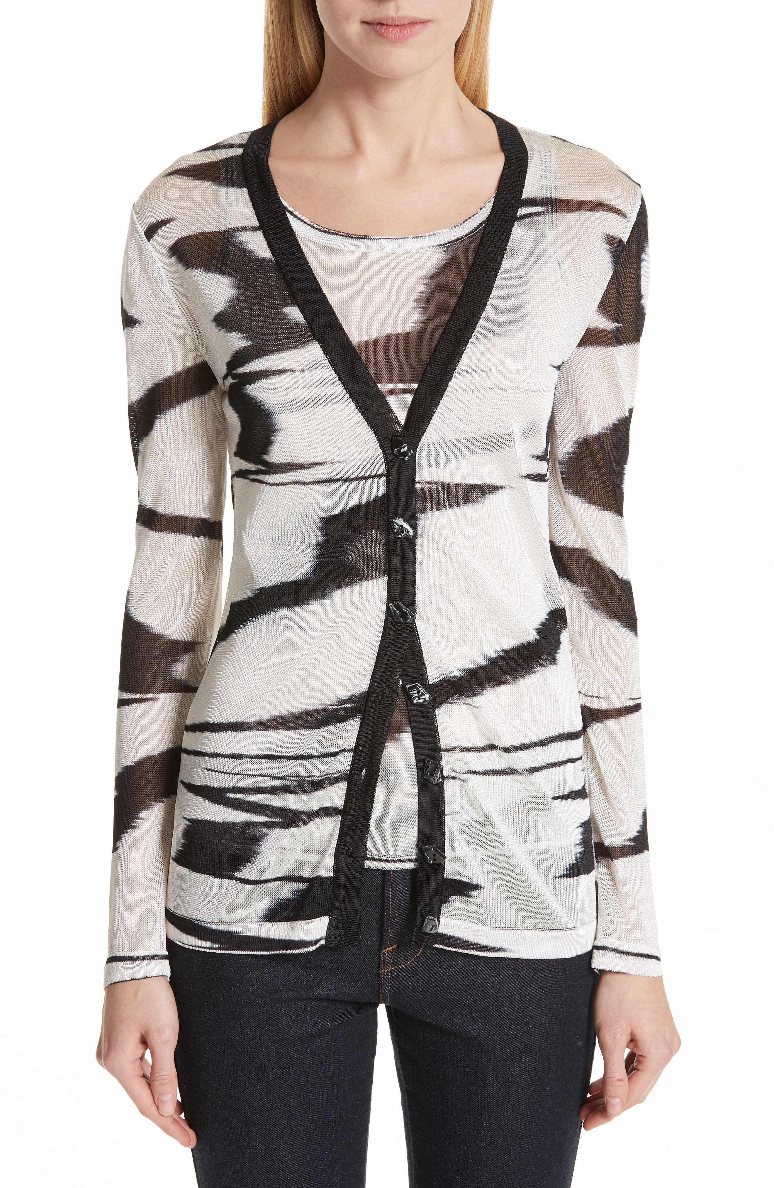 Space Dye Cardigan,                         Main,                         color, F0009 BLACK/ WHITE