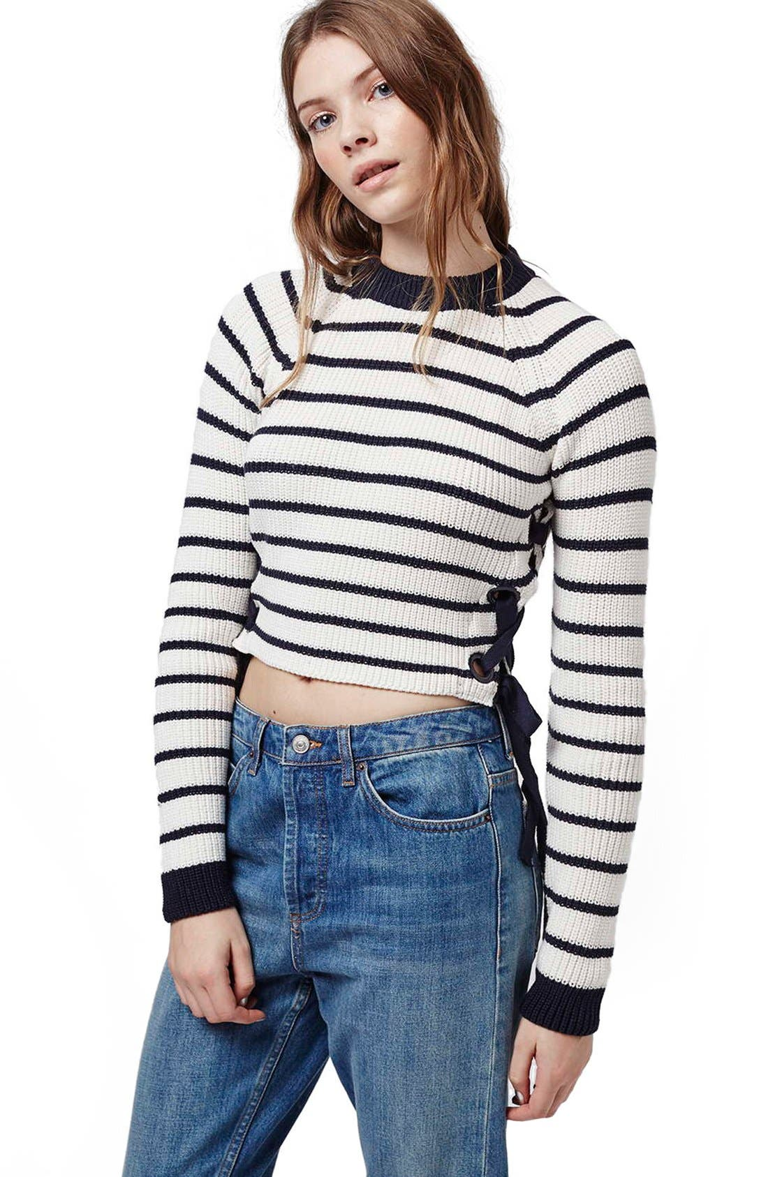 Lace-Up Crop Sweater,                             Alternate thumbnail 4, color,                             410