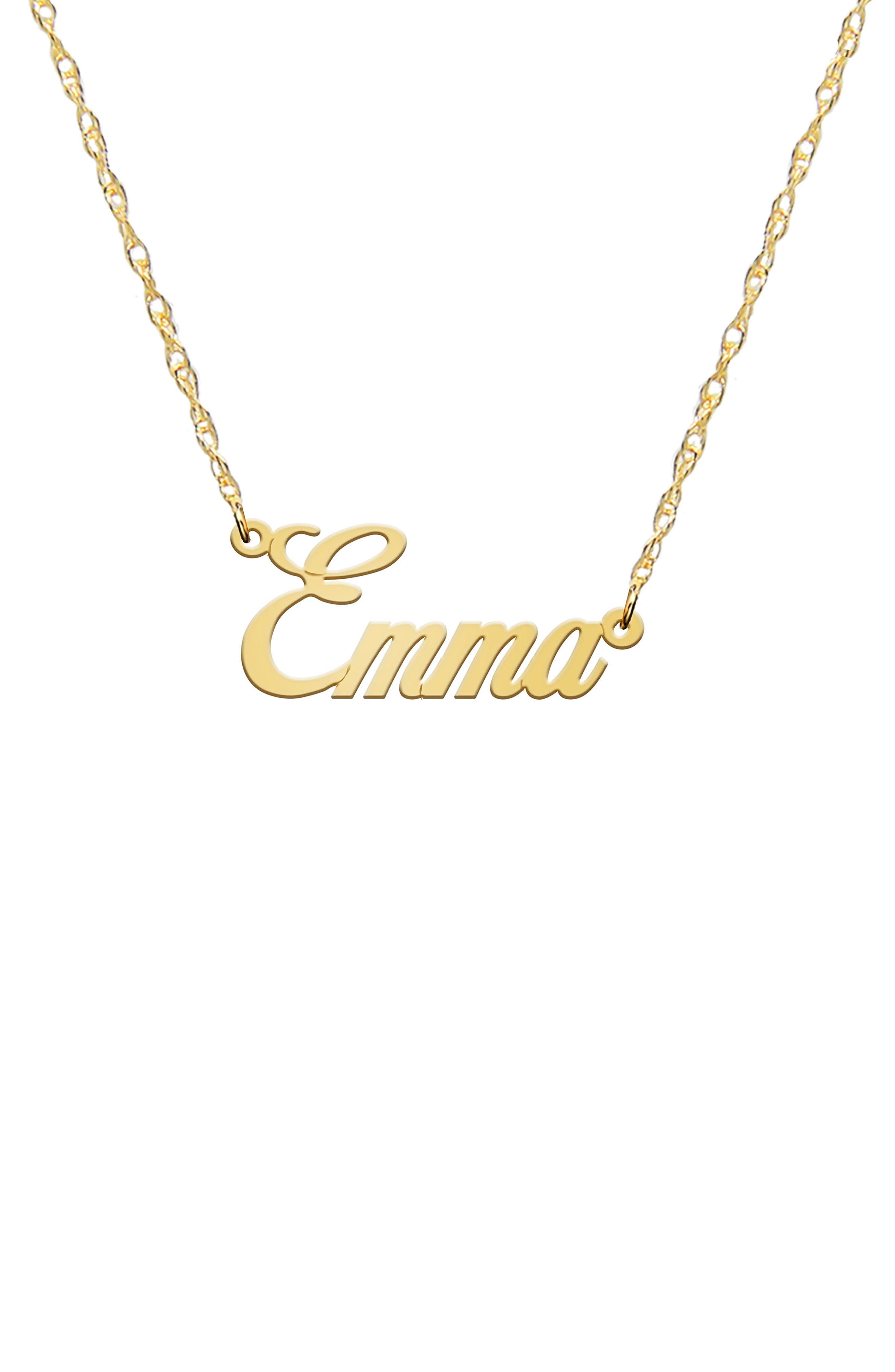 Jane Basch Personalized Nameplate Necklace,                             Main thumbnail 1, color,                             14K YELLOW GOLD