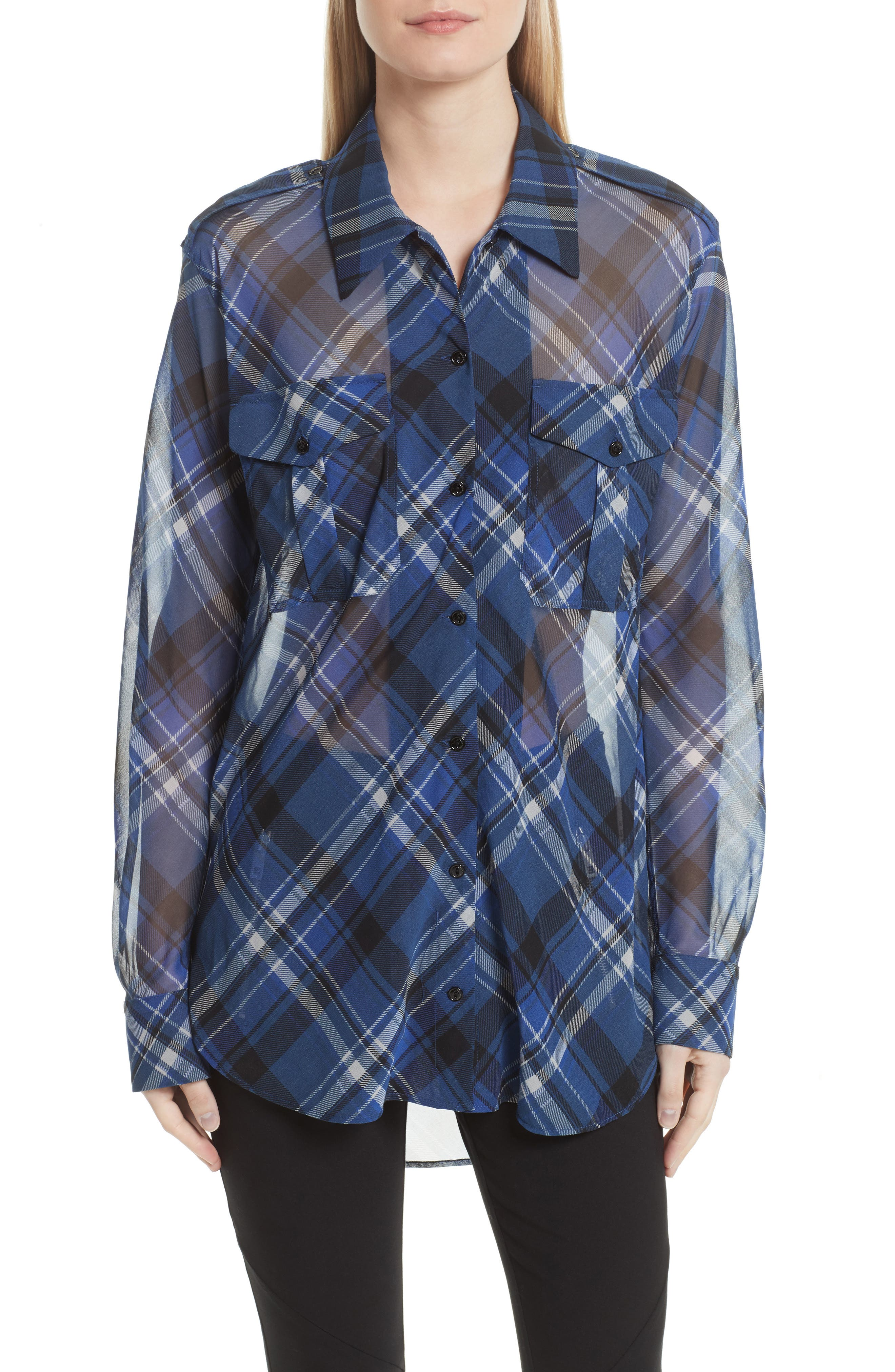Mason Plaid Stretch Silk Shirt,                         Main,                         color, 479