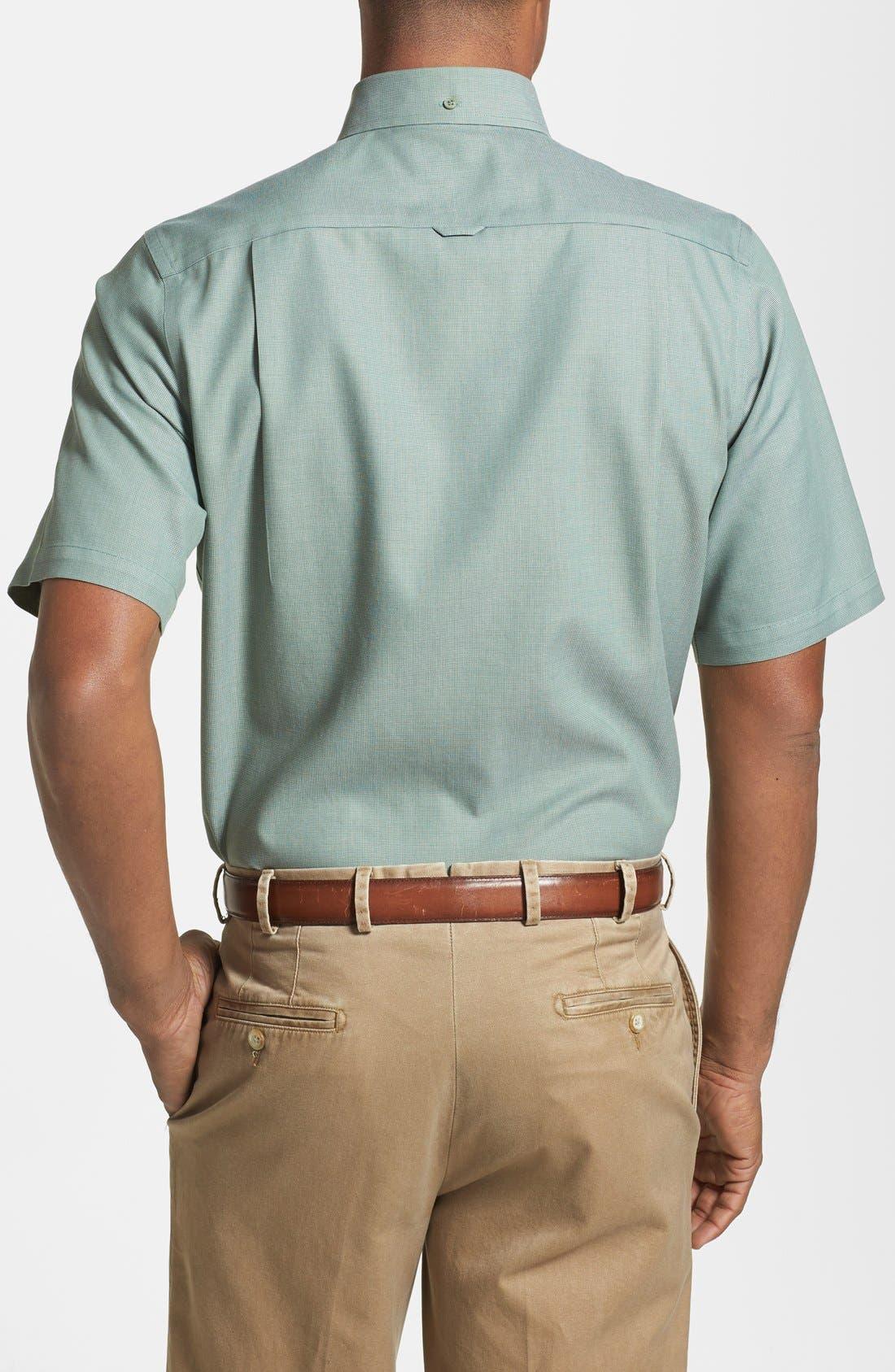 'Classic' Smartcare<sup>™</sup> Regular Fit Short Sleeve Cotton Sport Shirt,                             Alternate thumbnail 28, color,