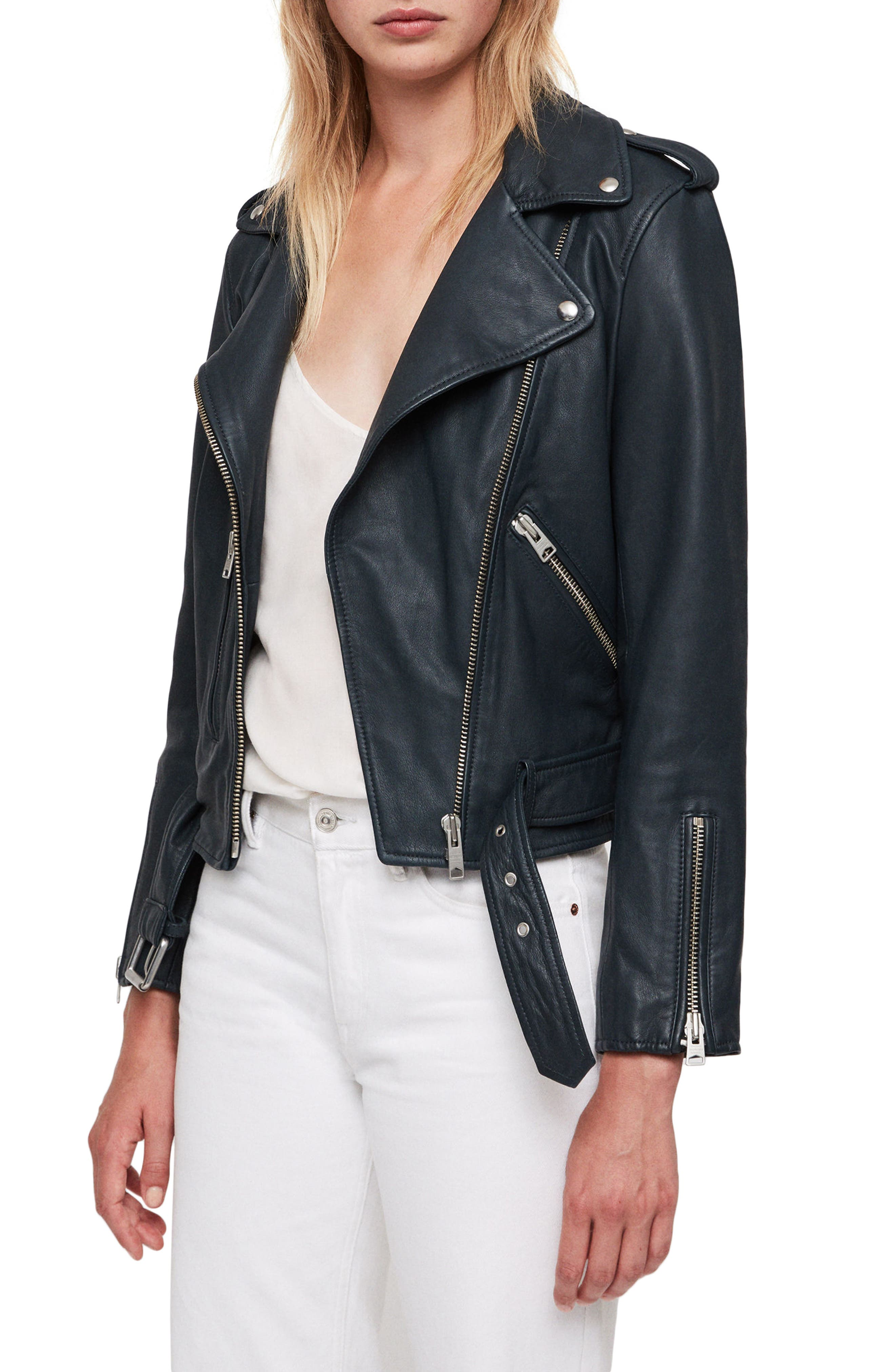 Balfern Leather Biker Jacket,                             Alternate thumbnail 3, color,                             404