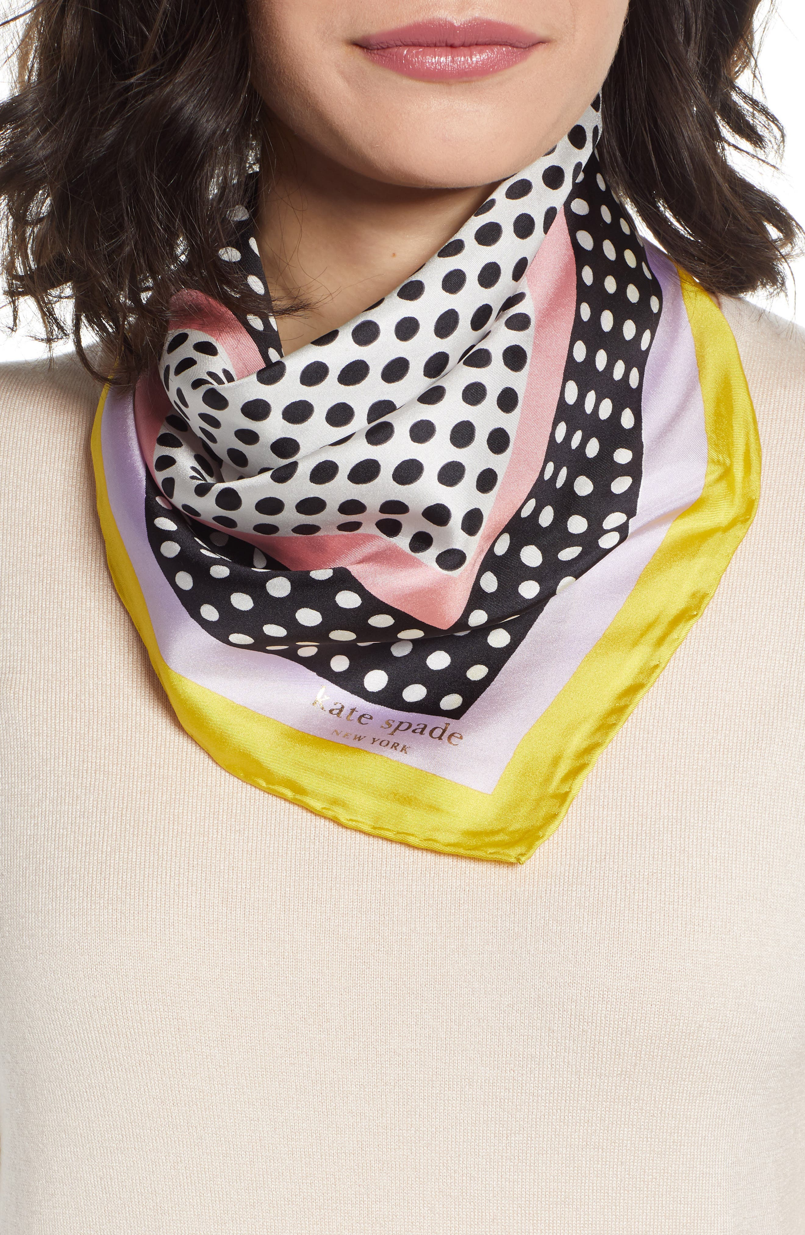 KATE SPADE NEW YORK dotty silk bandana, Main, color, CHARTREUSE
