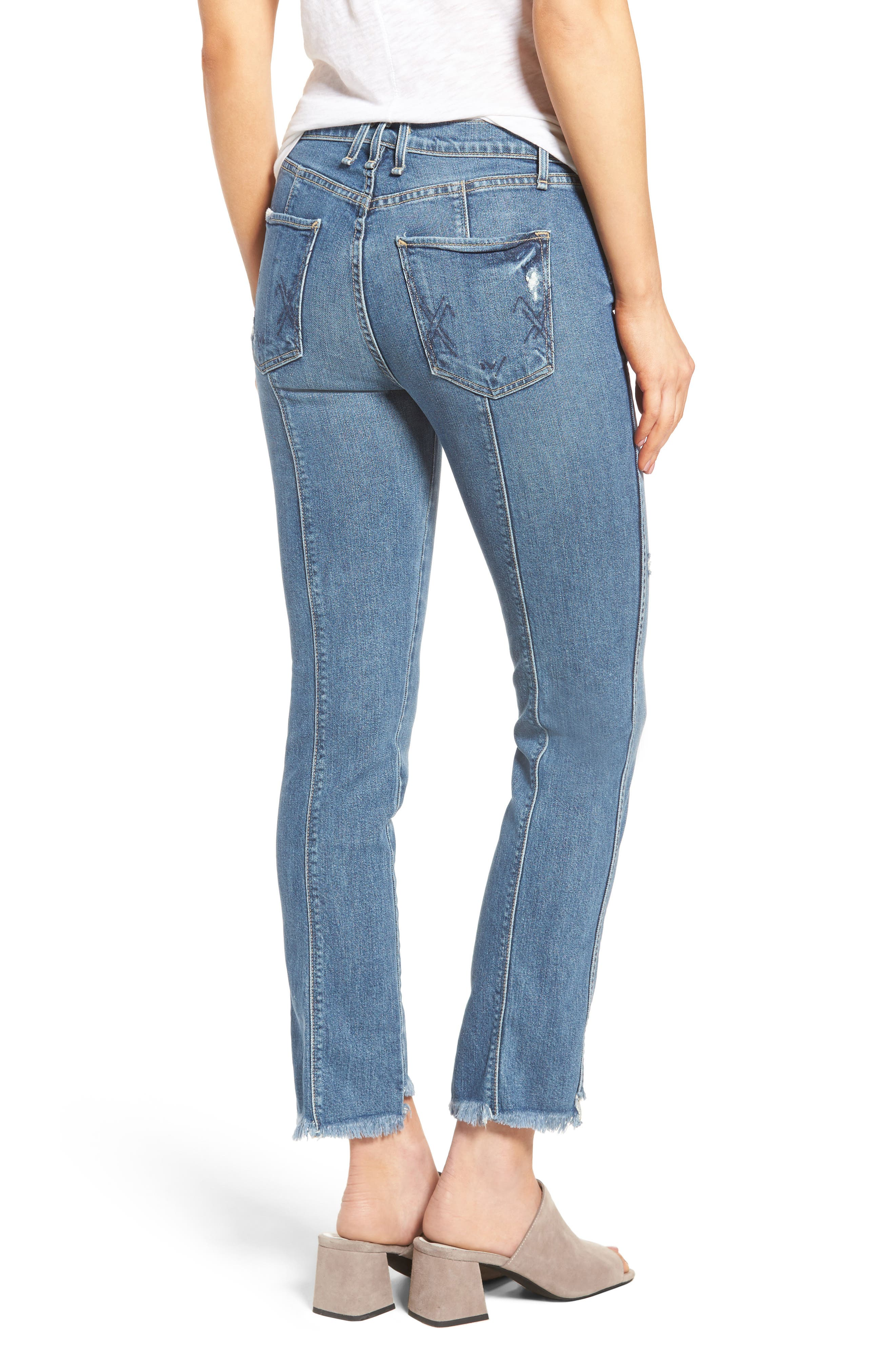 Lido Frayed Crop Straight Leg Jeans,                             Alternate thumbnail 2, color,                             461