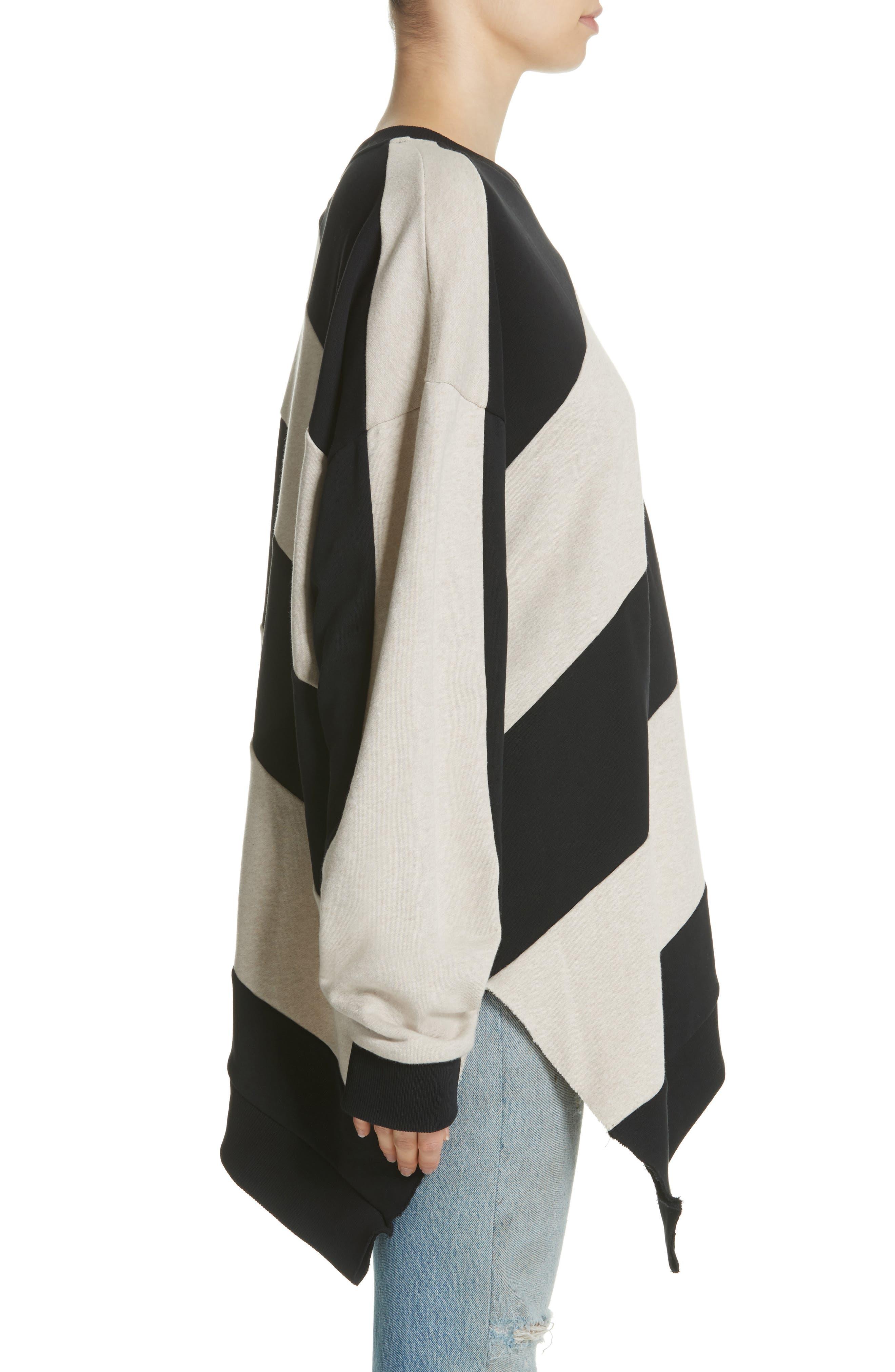 Marques'Almeida Asymmetrical Stripe Sweatshirt,                             Alternate thumbnail 3, color,                             250