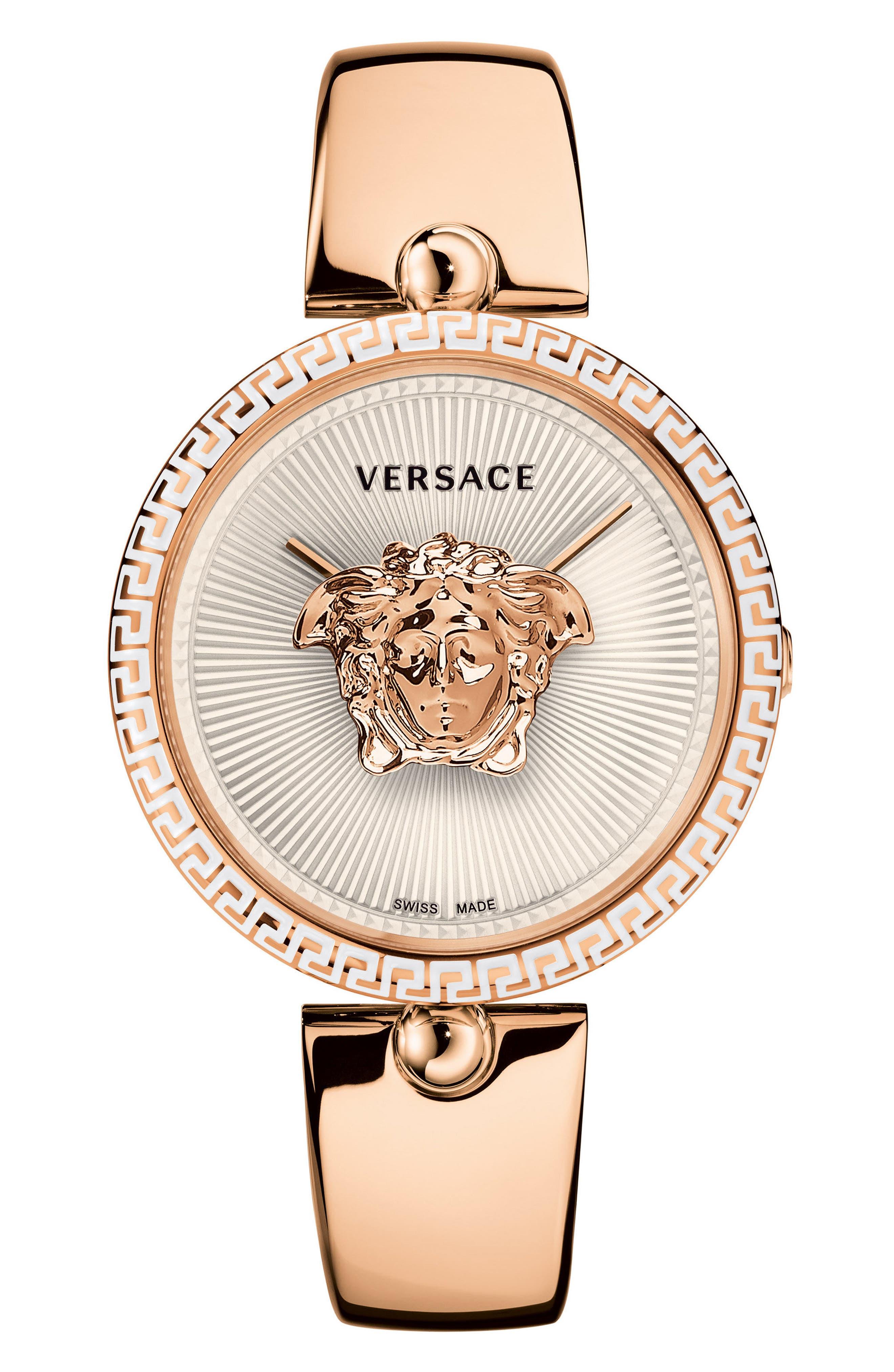Palazzo Bangle Bracelet Watch, 39mm,                             Main thumbnail 1, color,                             ROSE GOLD/ WHITE/ ROSE GOLD