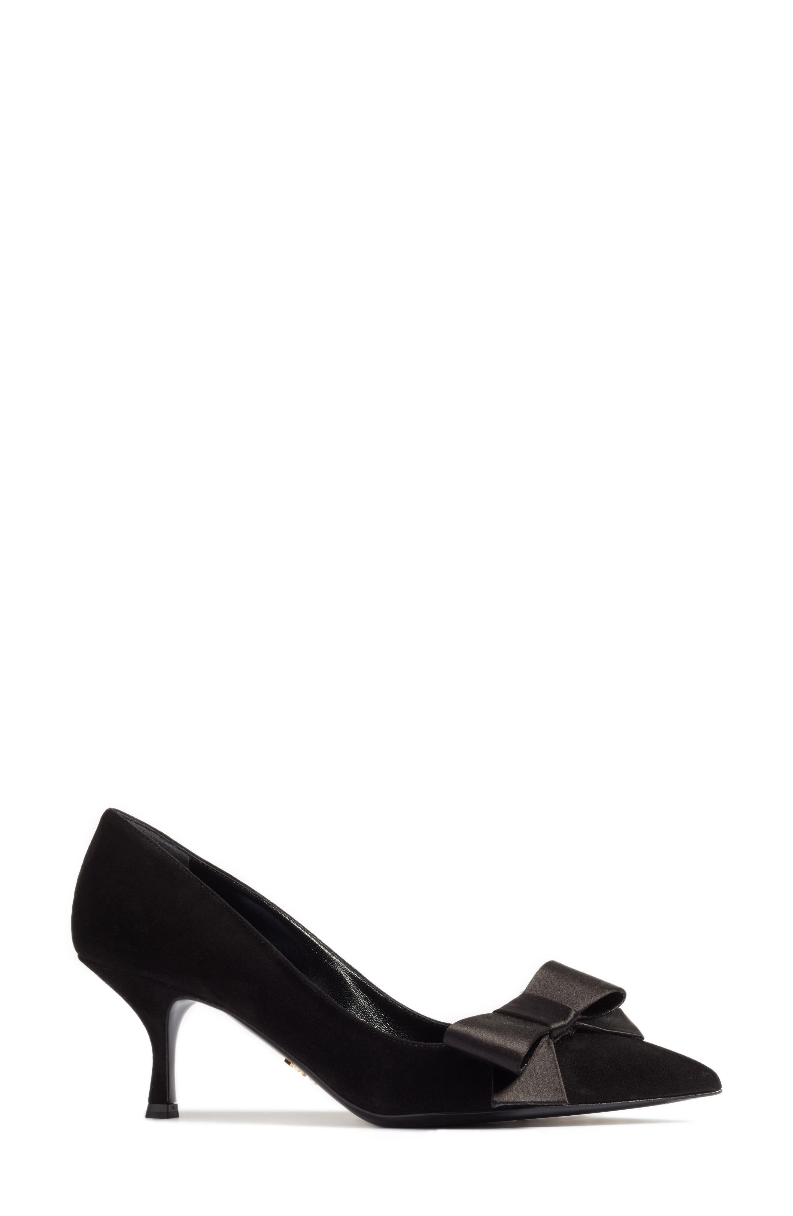 Bow Pointy Toe Pump,                             Alternate thumbnail 3, color,                             001
