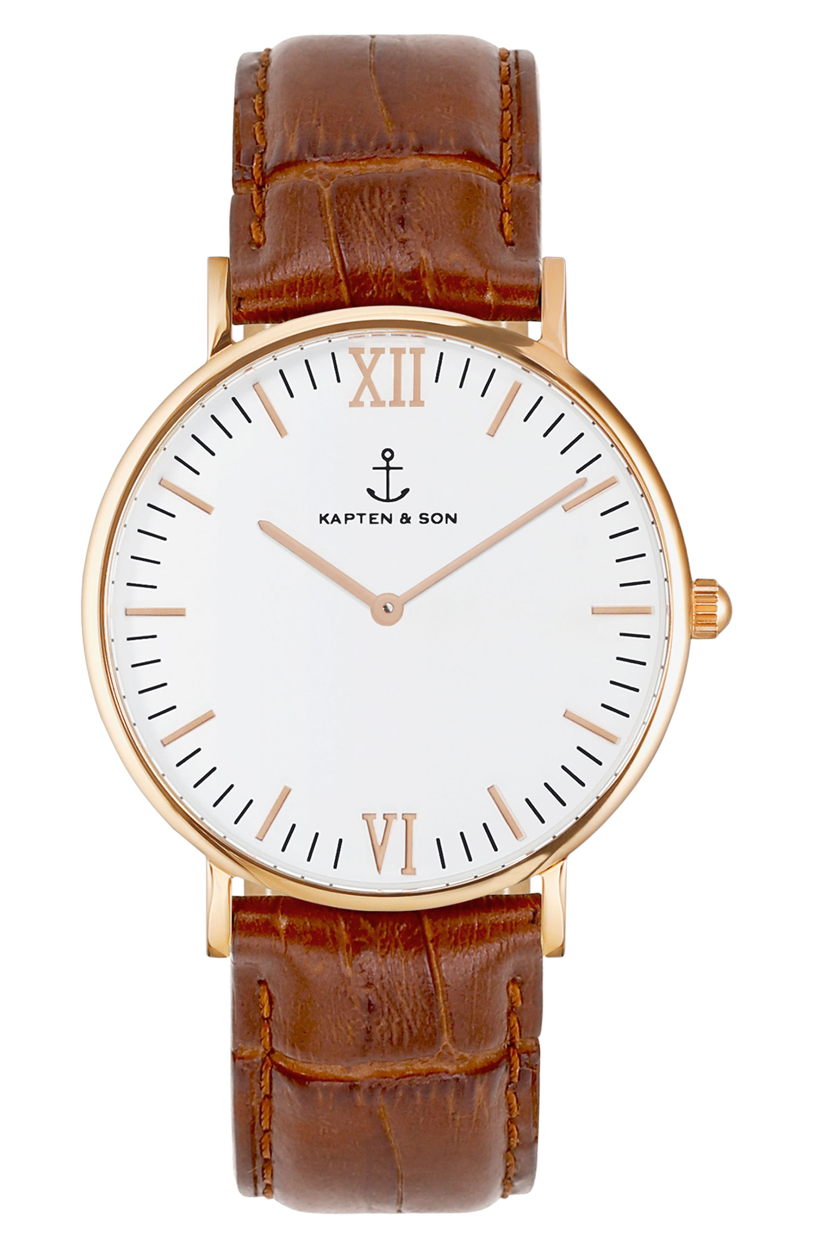Campina Leather Strap Watch, 36mm,                         Main,                         color, BROWN/WHITE/ROSE GOLD