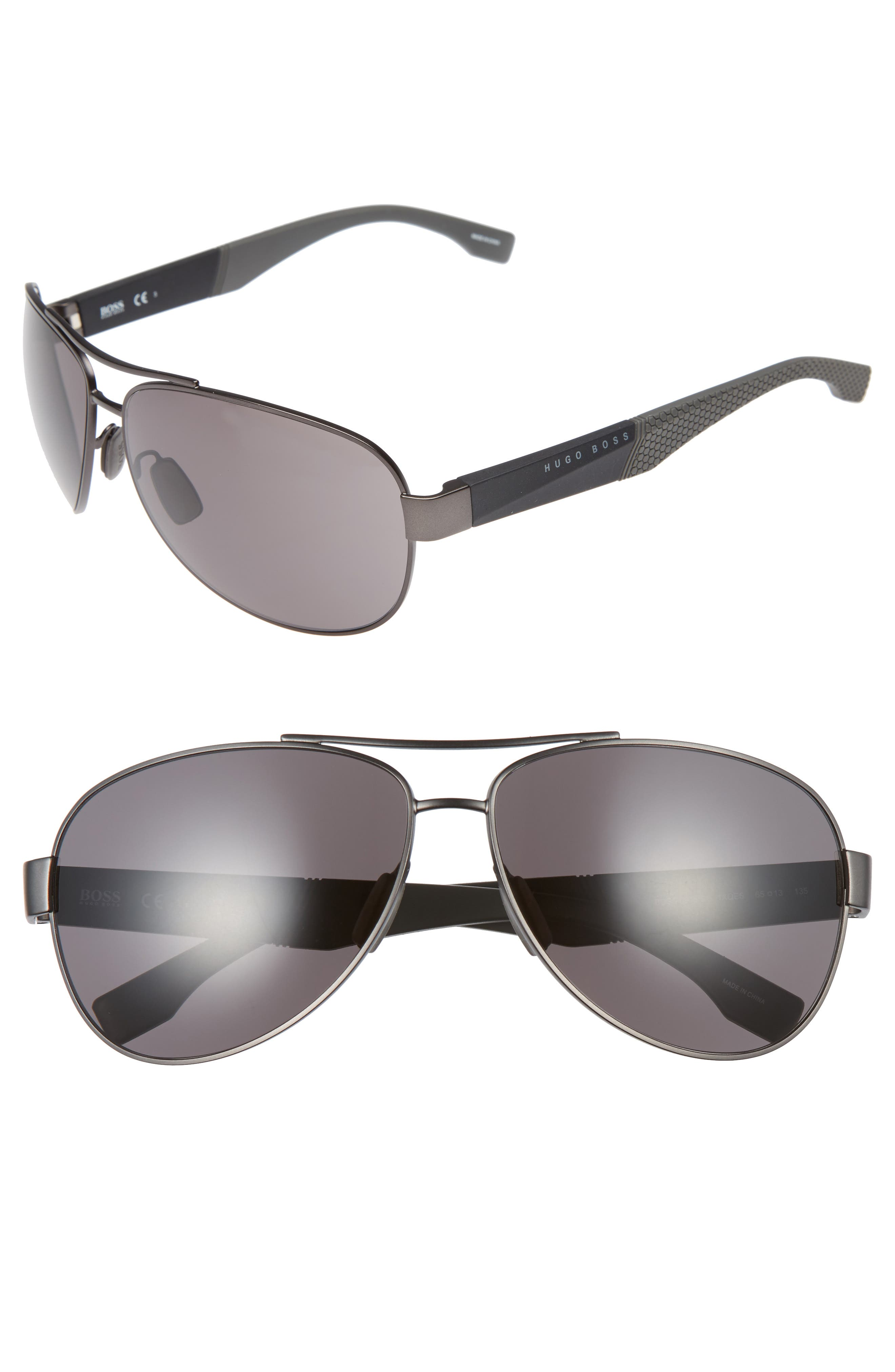 65mm Aviator Sunglasses,                             Main thumbnail 1, color,                             GREY BLACK/ GREY