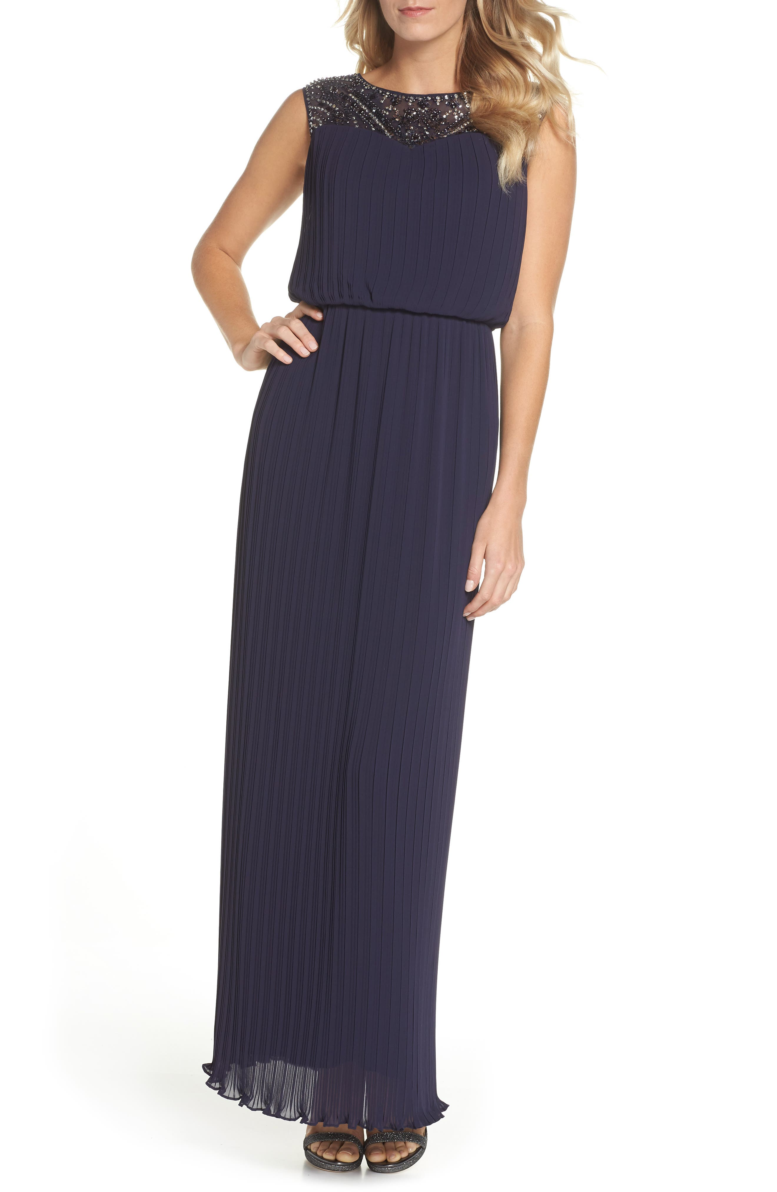 Alex Evenings Sleeveless Micropleated Gown