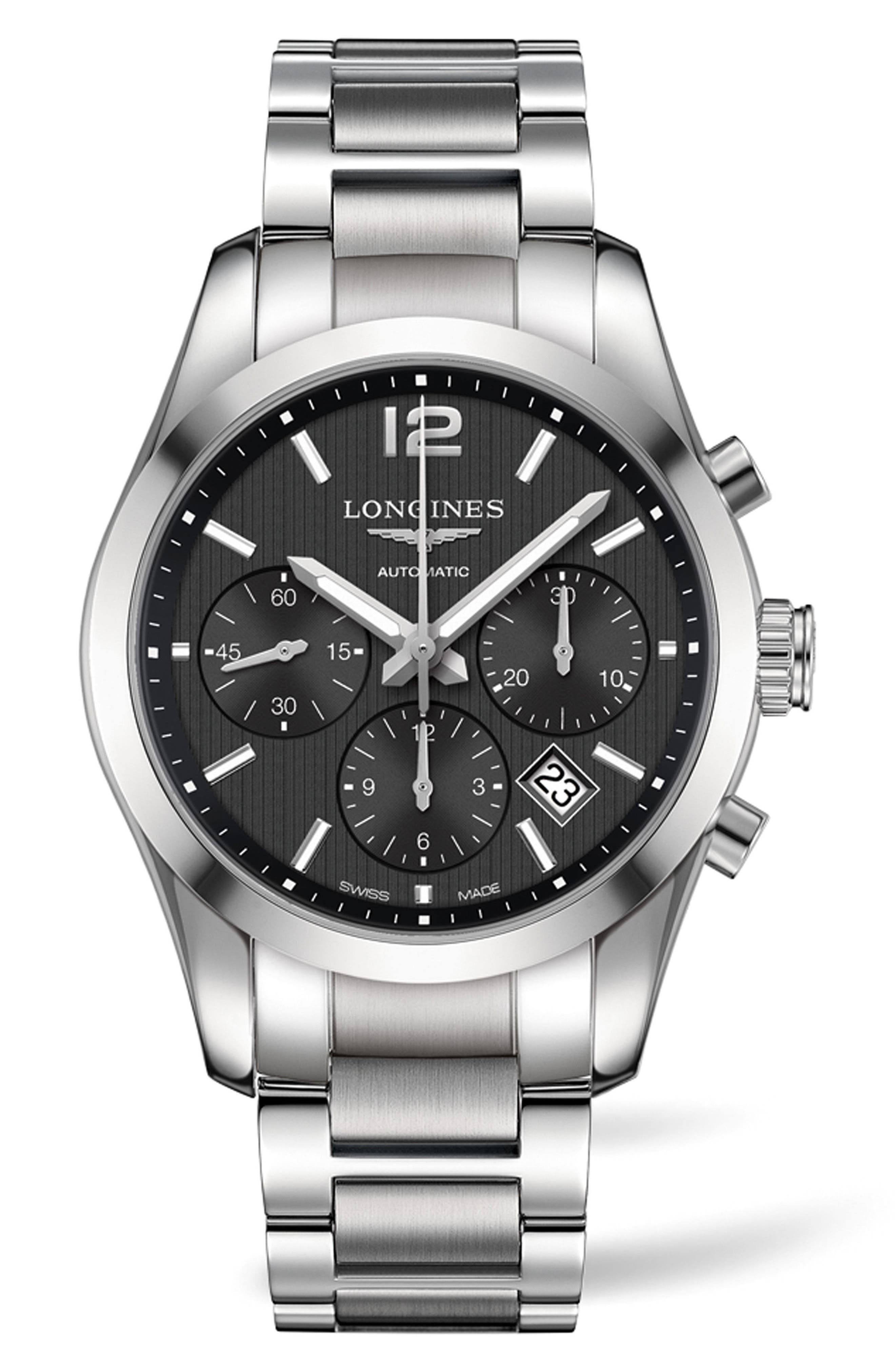Conquest Automatic Chronograph Bracelet Watch, 41mm,                             Main thumbnail 1, color,                             SILVER/ BLACK/ SILVER