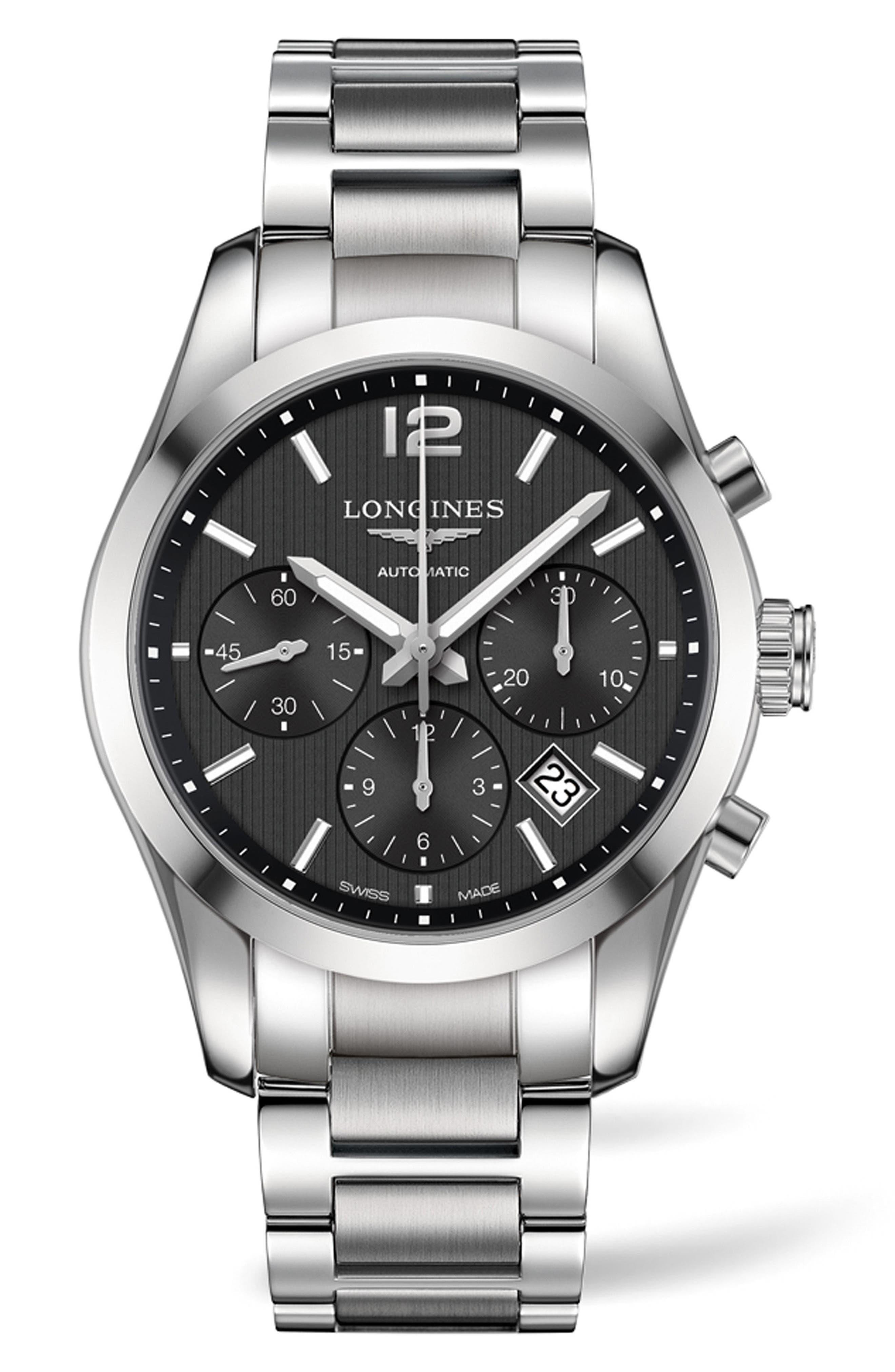 Conquest Automatic Chronograph Bracelet Watch, 41mm, Main, color, SILVER/ BLACK/ SILVER