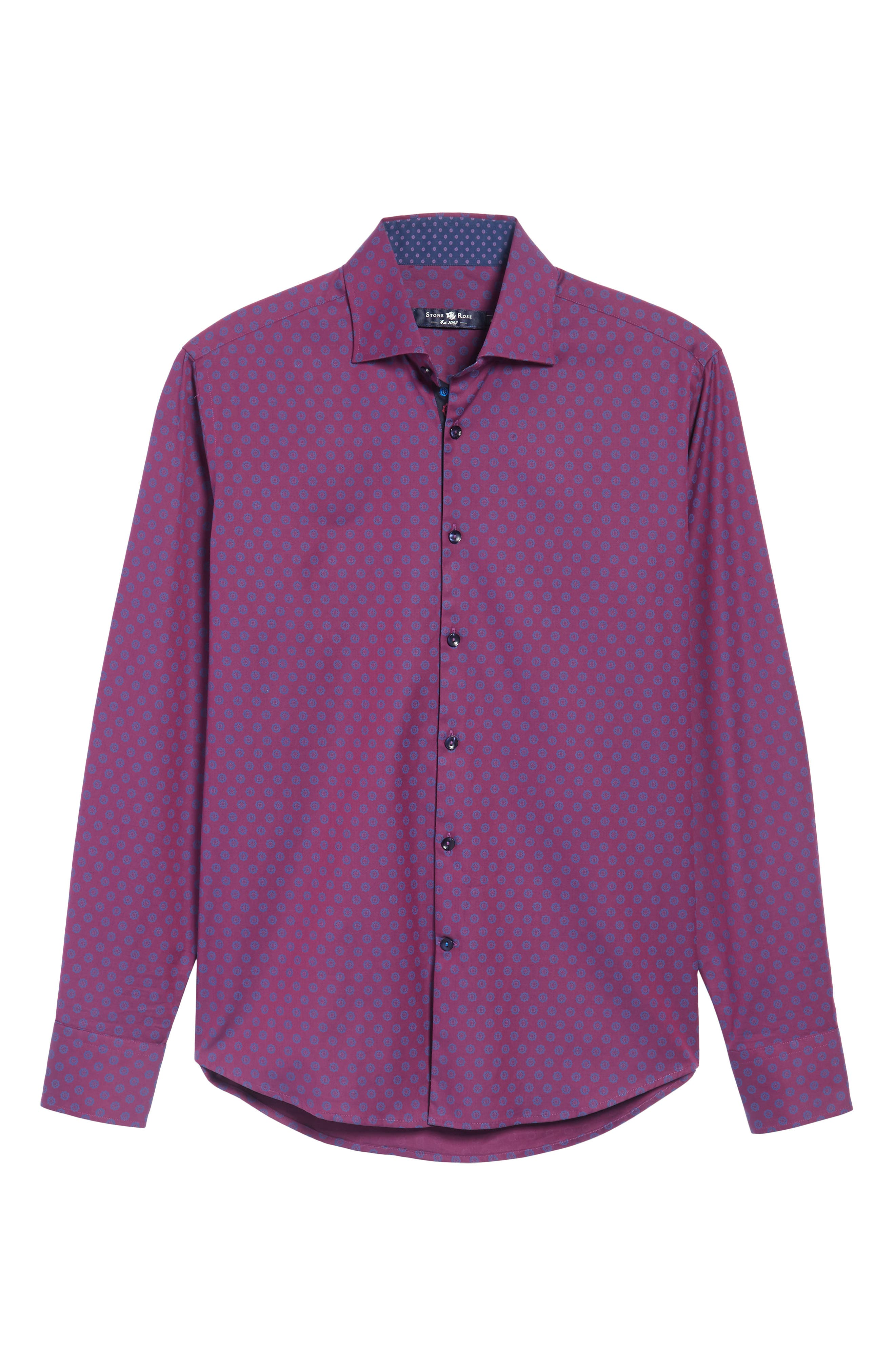 Slim Fit Flower Print Sport Shirt,                             Alternate thumbnail 6, color,                             500