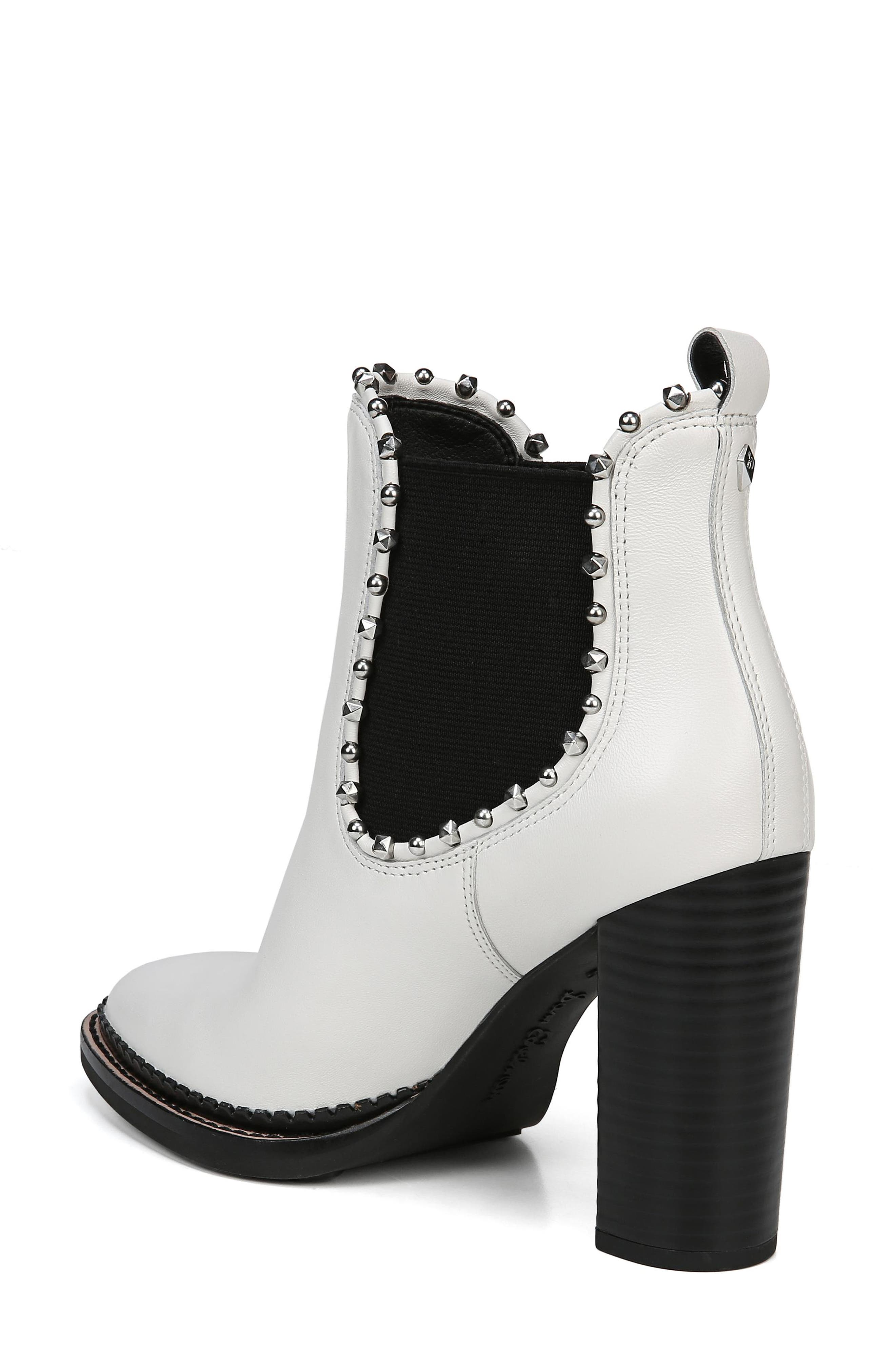 Salma Studded Chelsea Boot,                             Alternate thumbnail 2, color,                             BRIGHT WHITE LEATHER