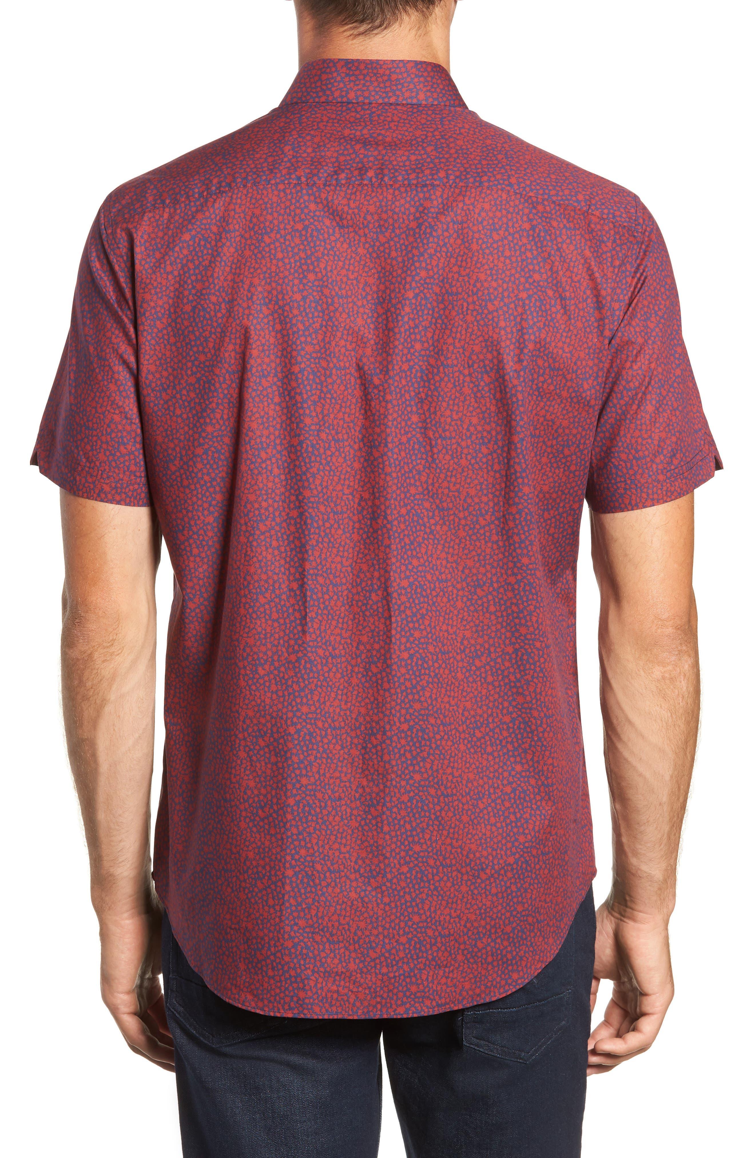 Lyons Regular Fit Print Sport Shirt,                             Alternate thumbnail 3, color,                             RED