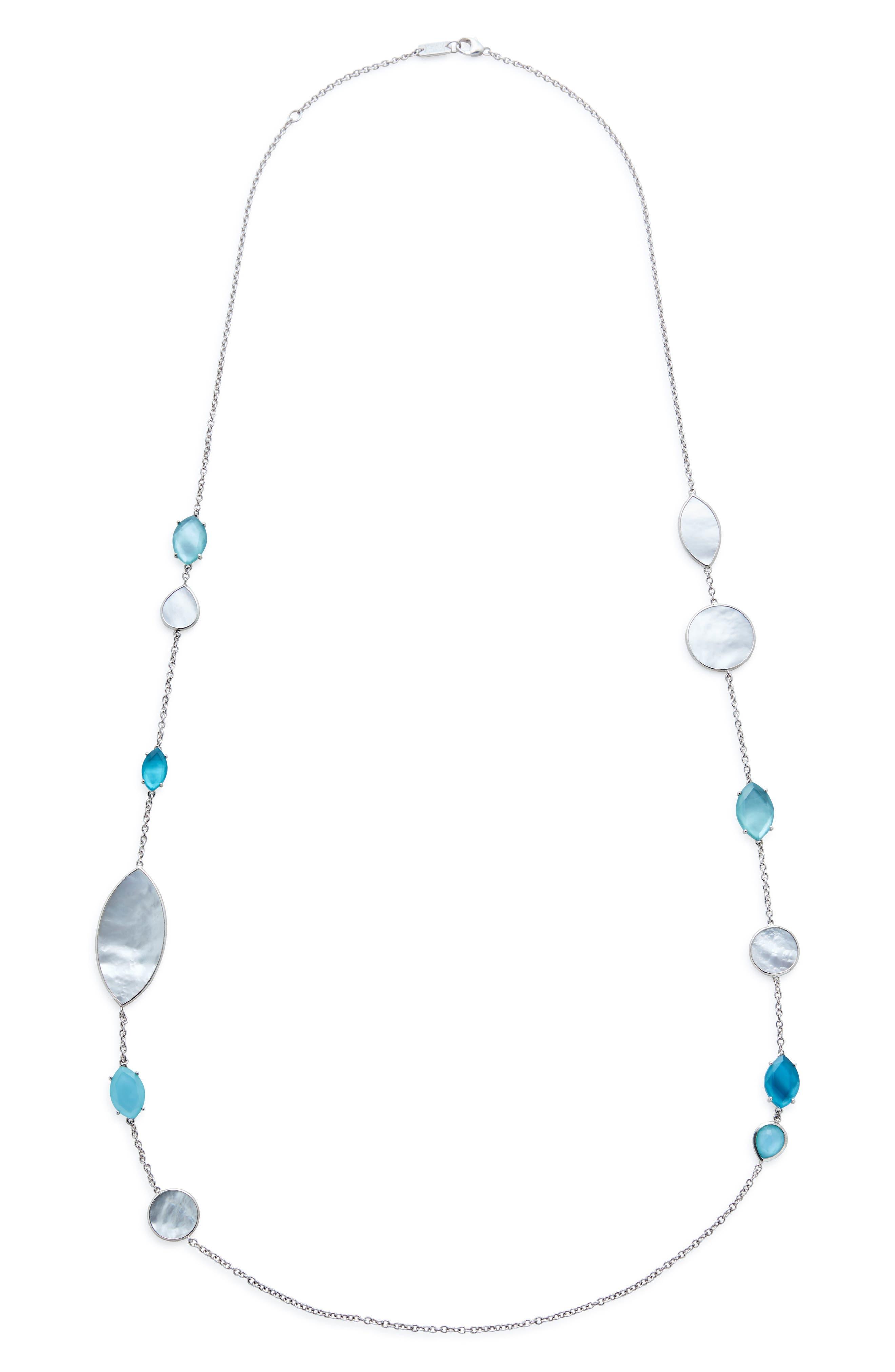 Wonderland Long Marquise Stone Necklace,                             Main thumbnail 1, color,                             BLUE/ MOP