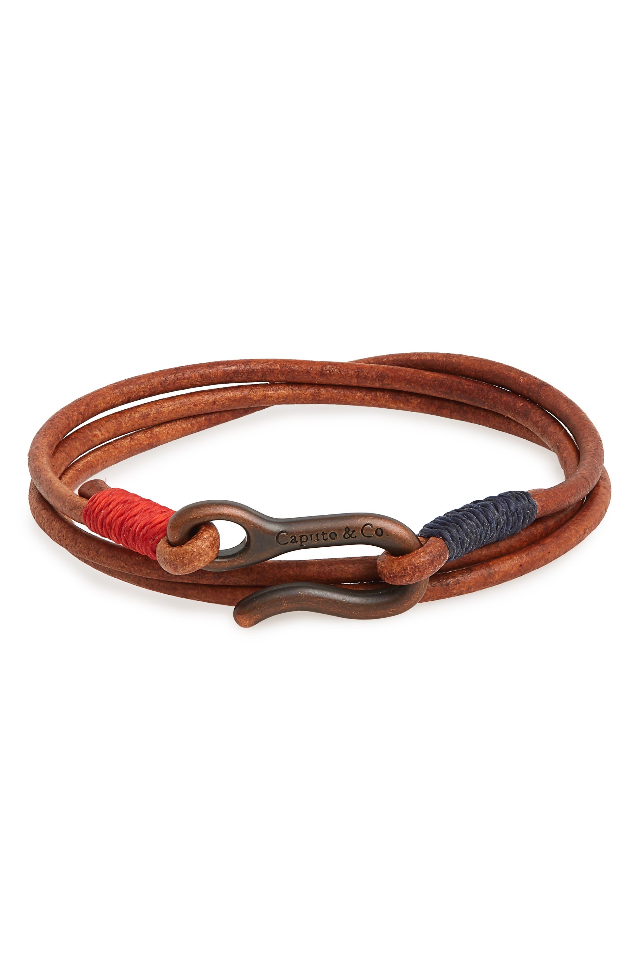 Leather Wrap Bracelet,                             Main thumbnail 3, color,