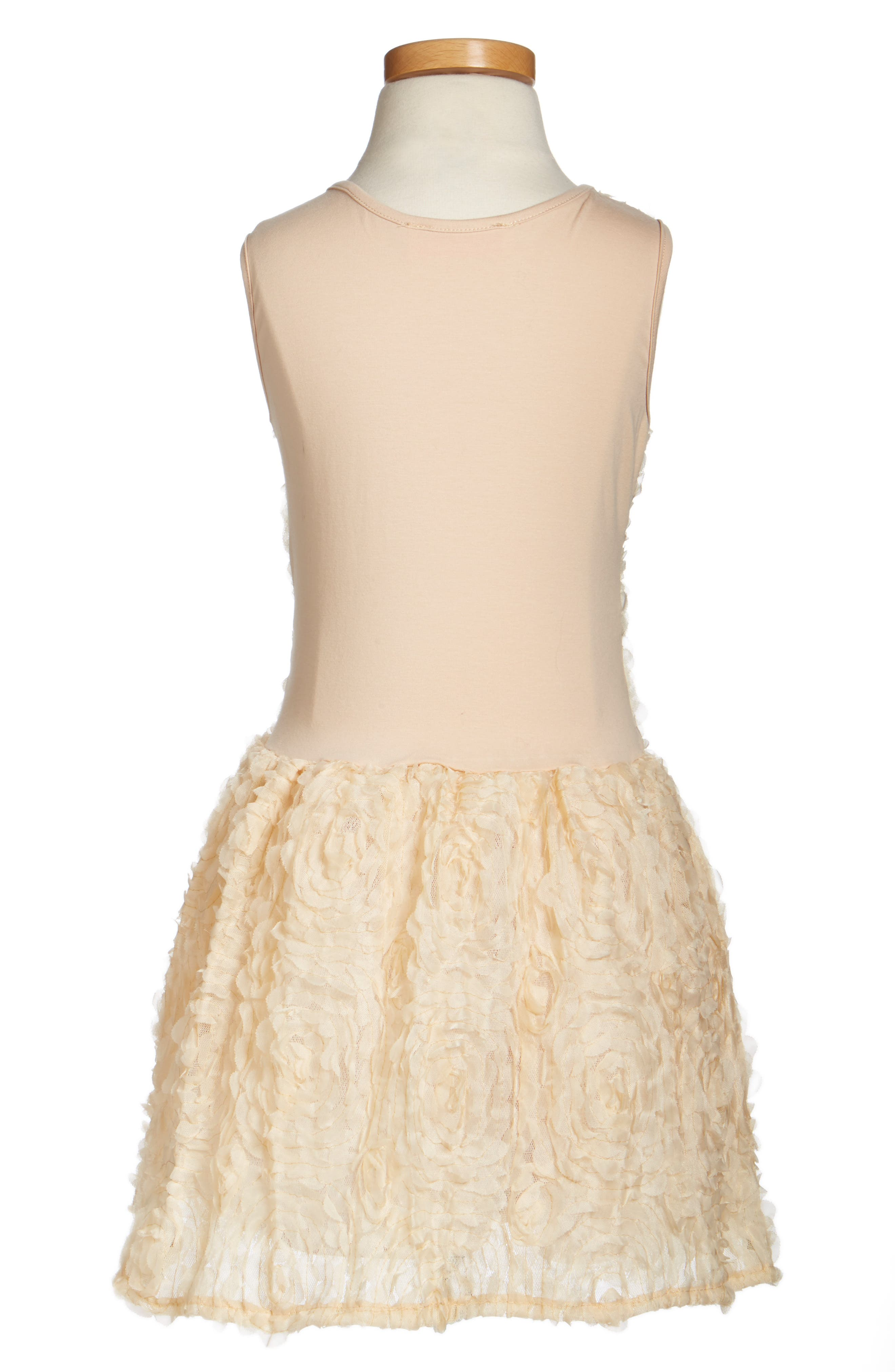 Rosette Drop Waist Dress,                             Alternate thumbnail 2, color,                             IVORY