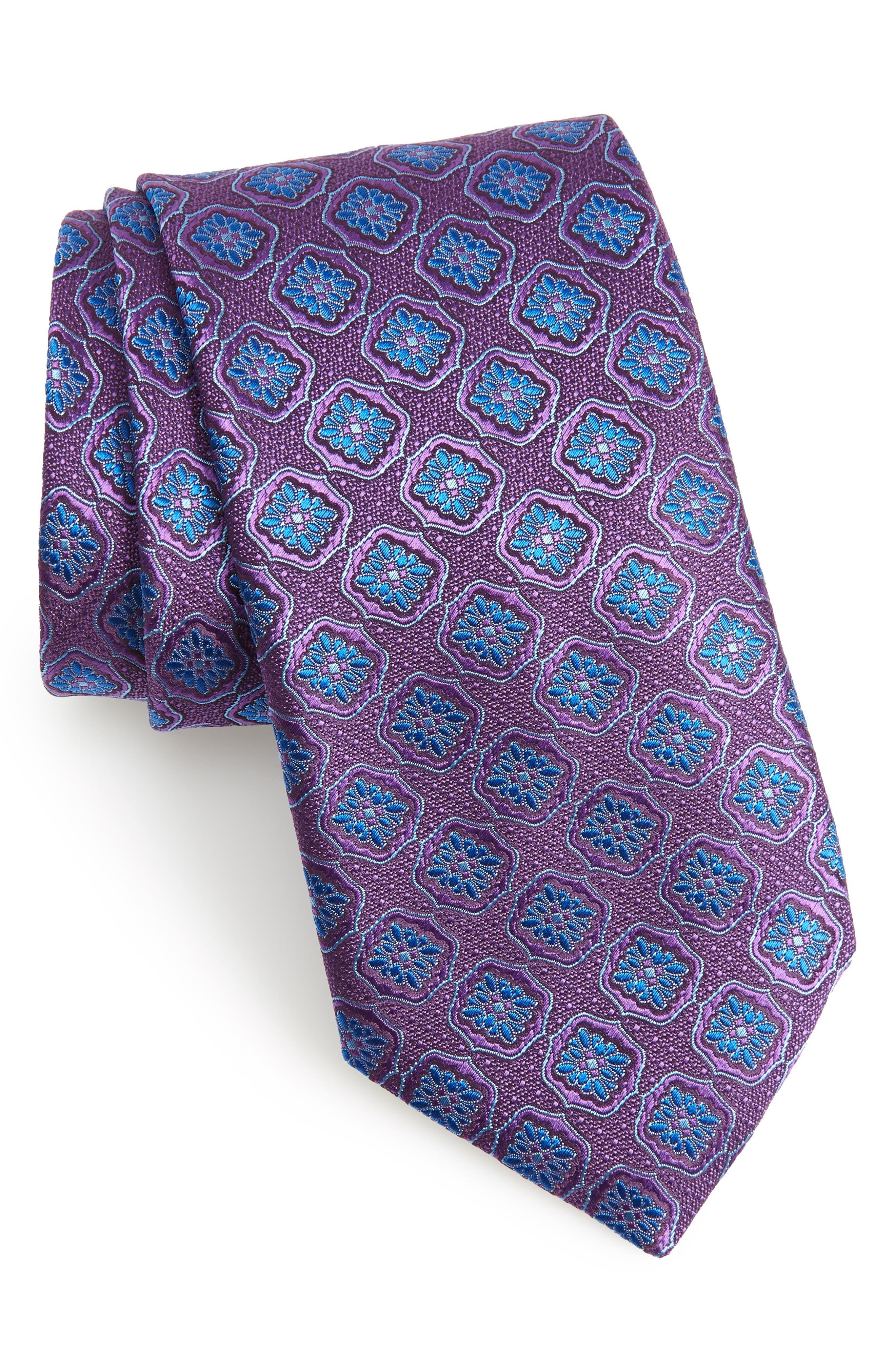Medallion Silk Tie,                         Main,                         color, PURPLE