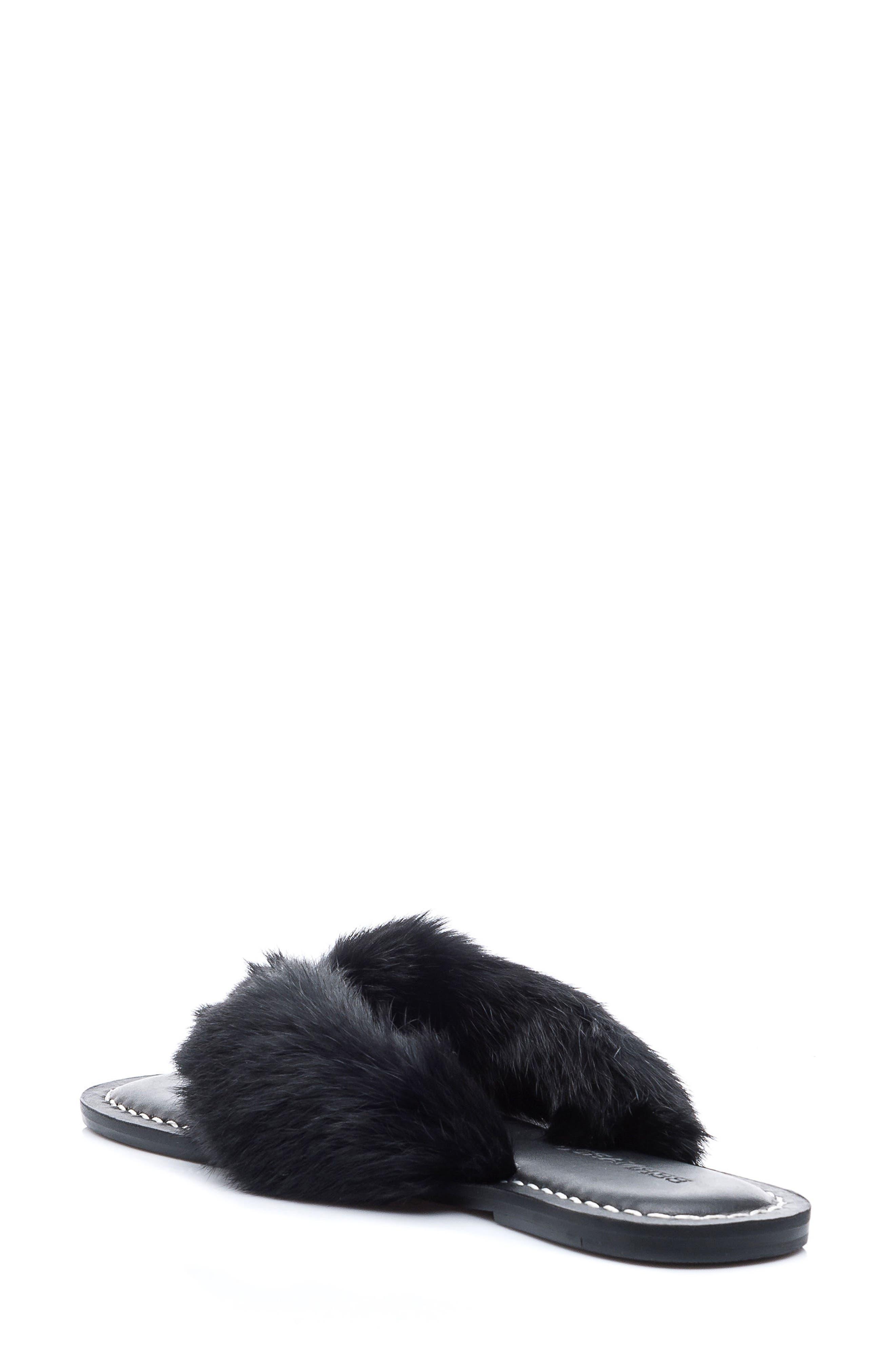 Genuine Rabbit Fur Flip Flop,                             Alternate thumbnail 2, color,                             001