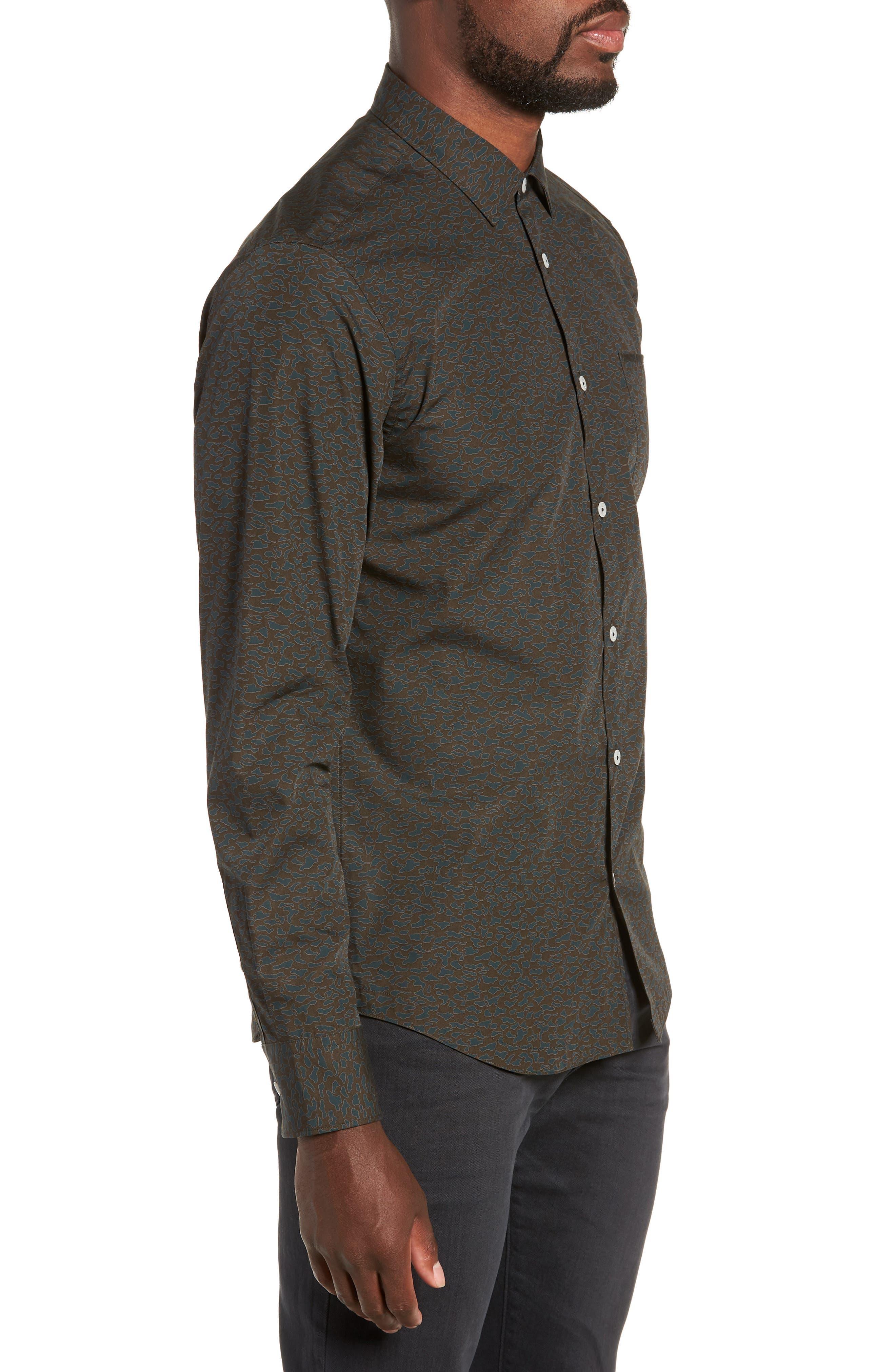 Camo Slim Fit Cotton Sport Shirt,                             Alternate thumbnail 3, color,                             FOREST