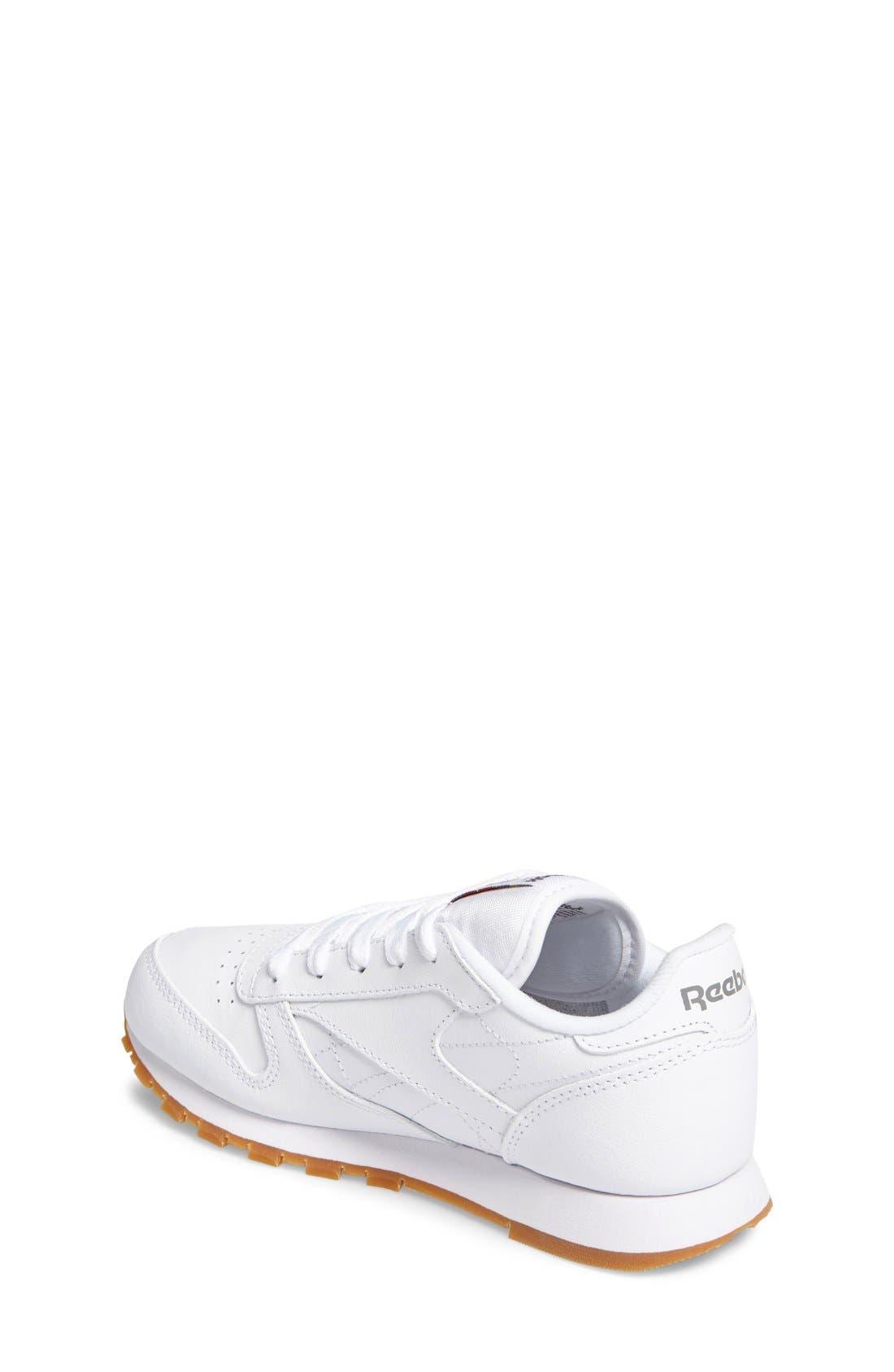 Classic Leather Sneaker,                             Alternate thumbnail 6, color,                             WHITE/ GUM