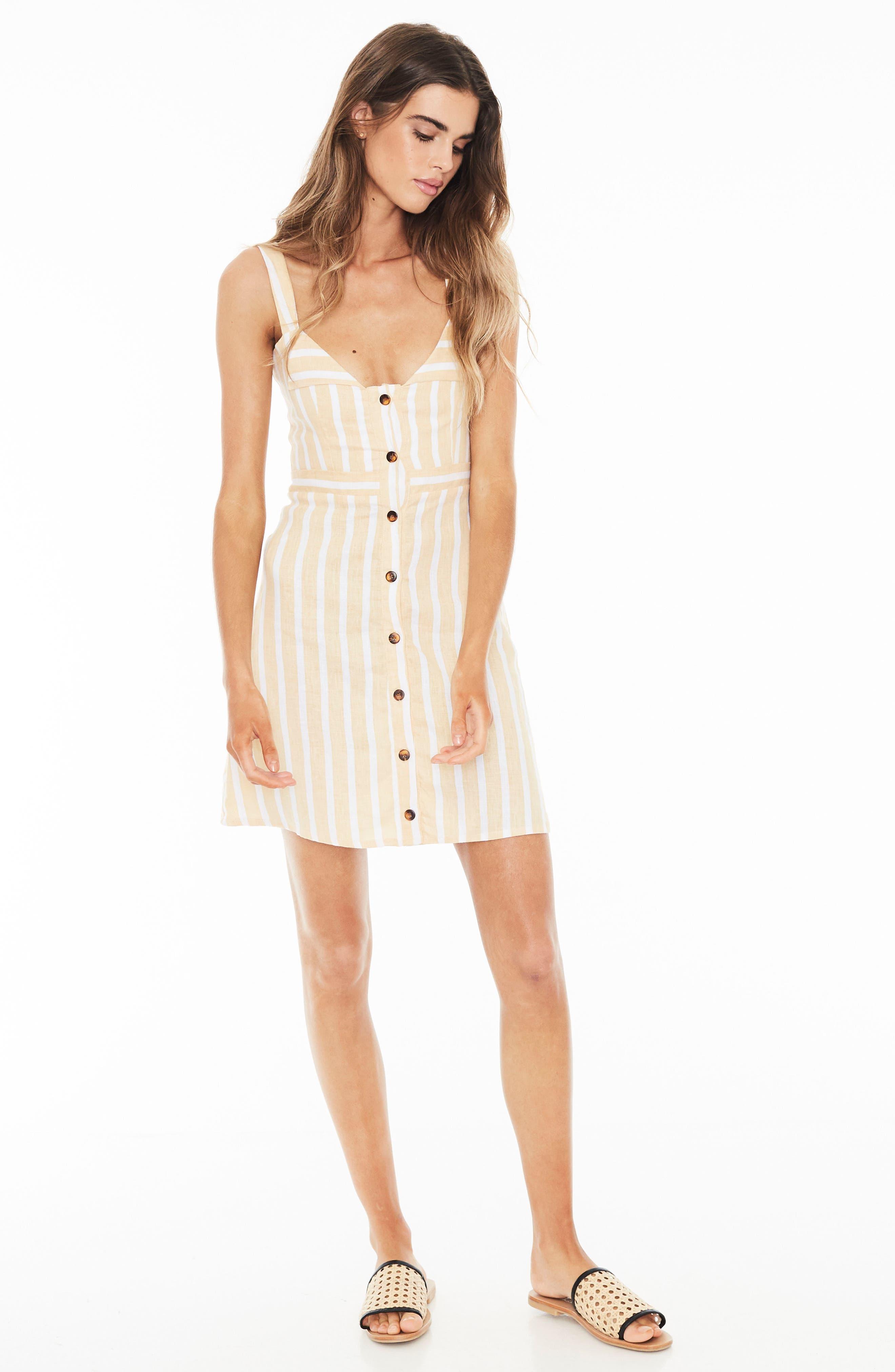 Le Petite Stripe Linen Dress,                             Alternate thumbnail 5, color,                             MAZUR STRIPE PRINT - LEMON