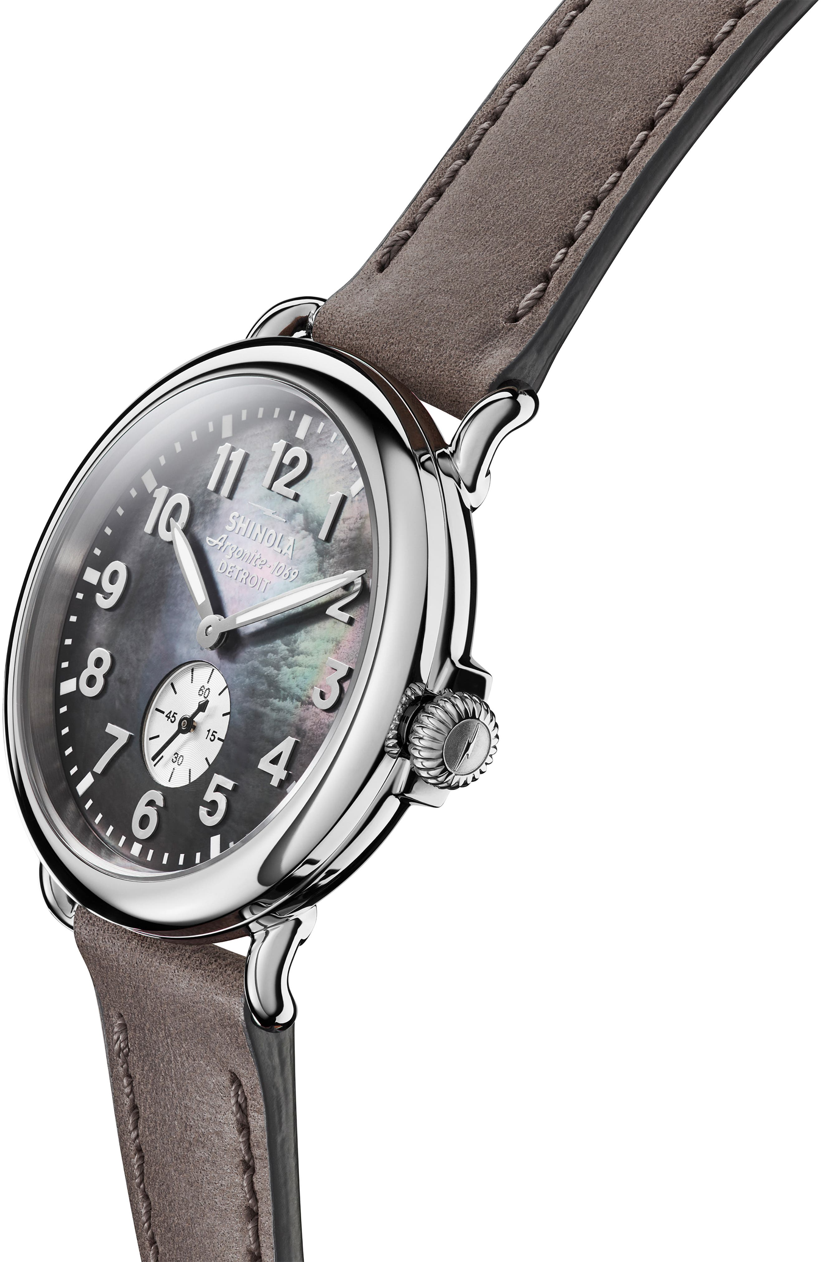 'The Runwell' Leather Strap Watch, 41mm,                             Alternate thumbnail 5, color,                             HEATHER GREY/ MOP/ SILVER