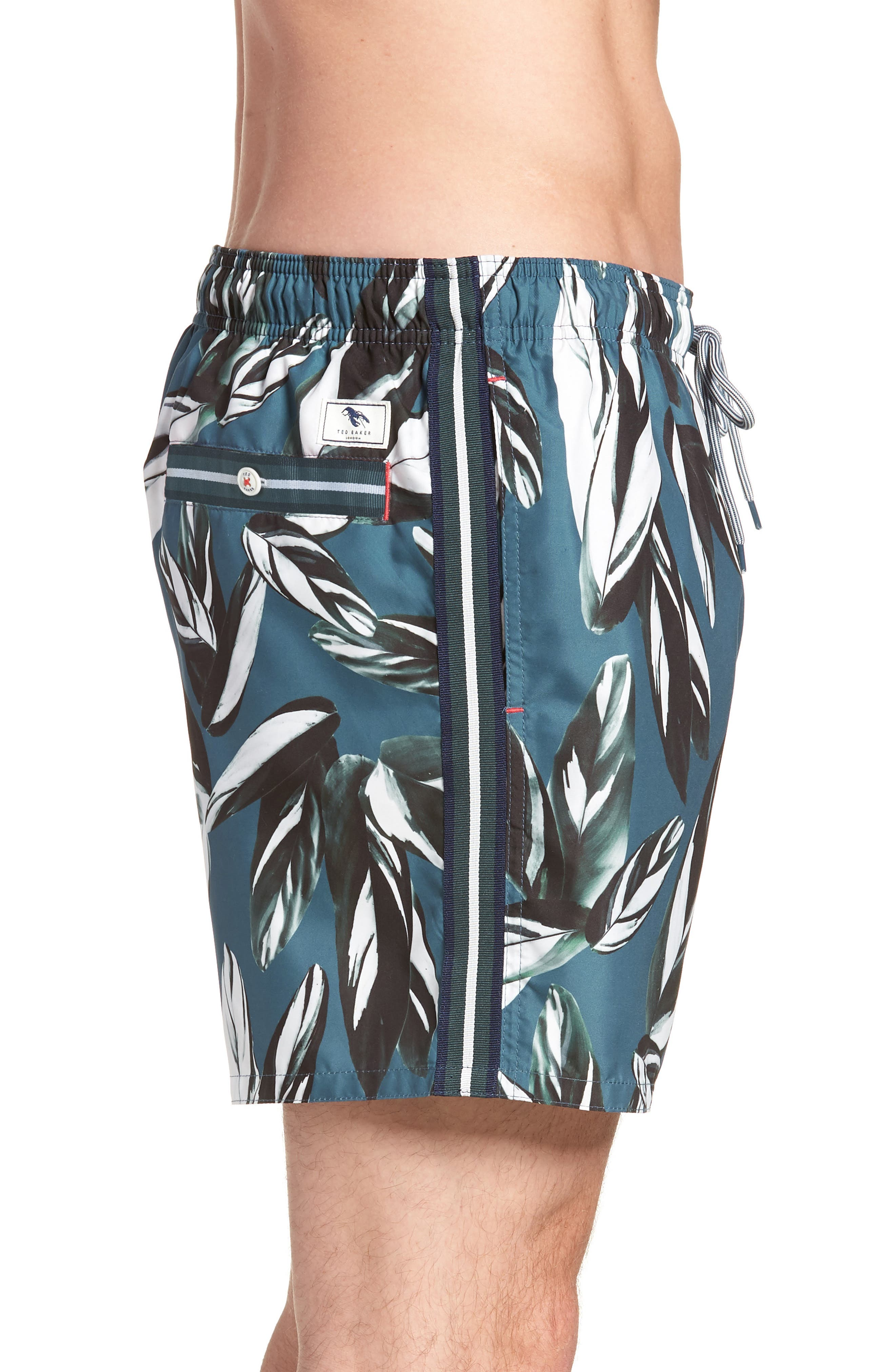 Bury Leaf Print Swim Shorts,                             Alternate thumbnail 4, color,                             440