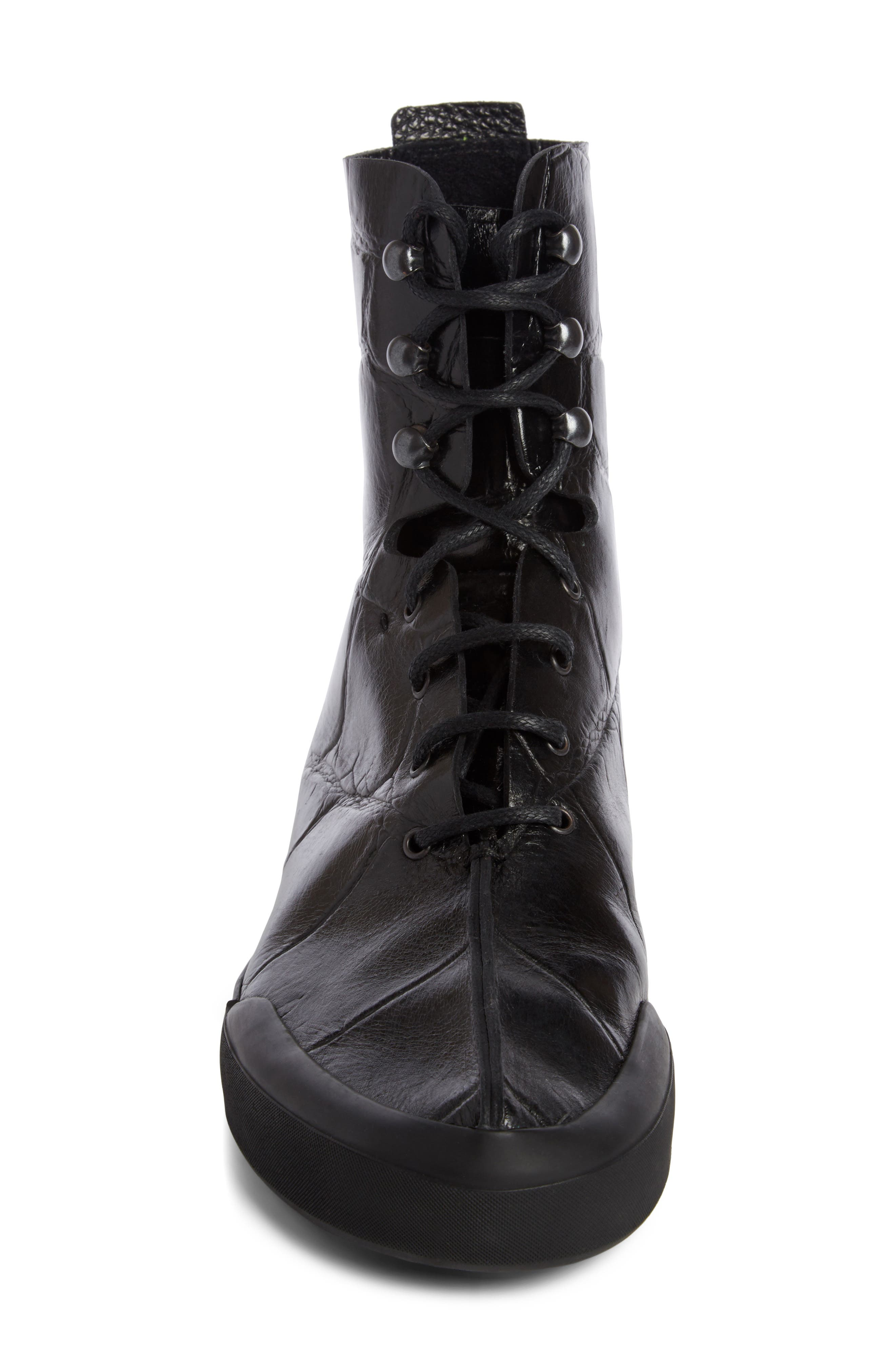 Croc Embossed Lace-Up Boot,                             Alternate thumbnail 4, color,                             001